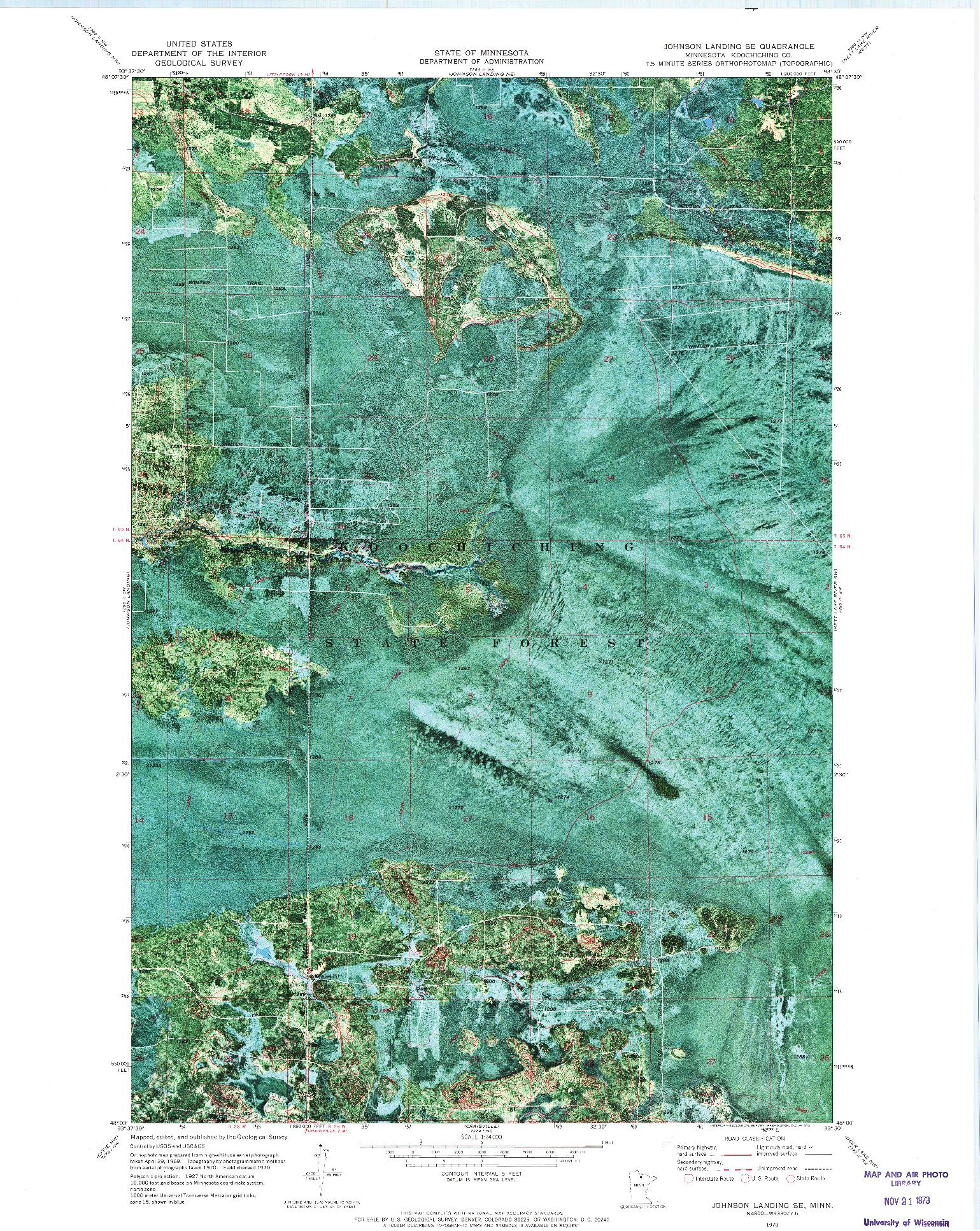 USGS 1:24000-SCALE QUADRANGLE FOR JOHNSON LANDING SE, MN 1970