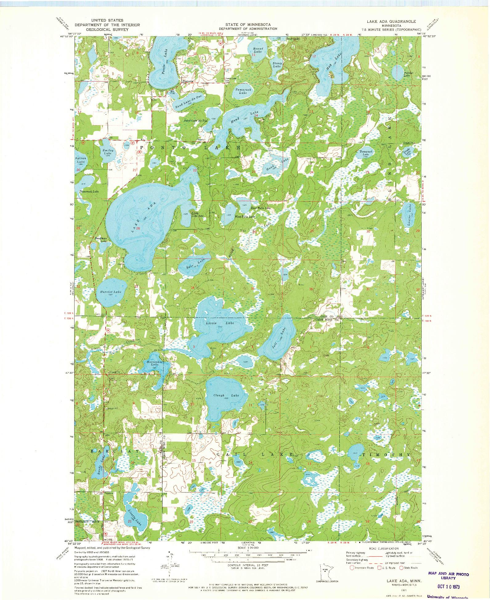 USGS 1:24000-SCALE QUADRANGLE FOR LAKE ADA, MN 1971
