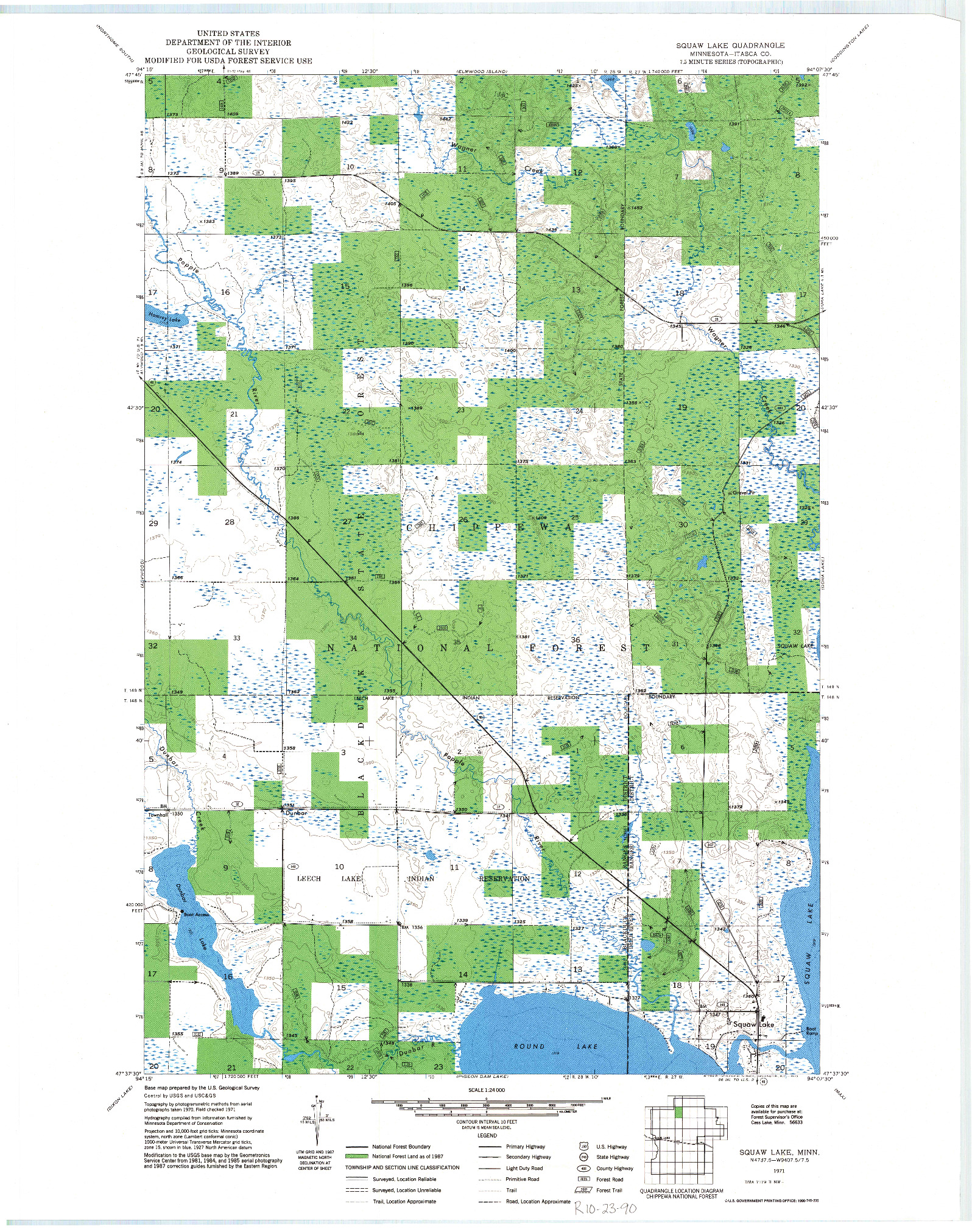 USGS 1:24000-SCALE QUADRANGLE FOR SQUAW LAKE, MN 1971