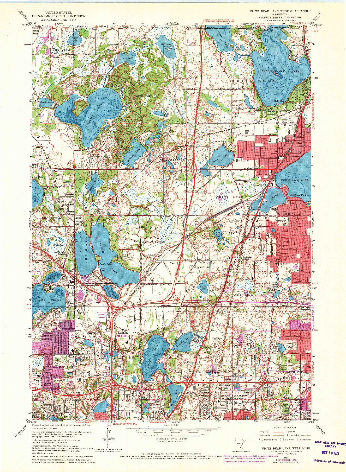 USGS 1:24000-SCALE QUADRANGLE FOR WHITE BEAR LAKE WEST, MN 1967
