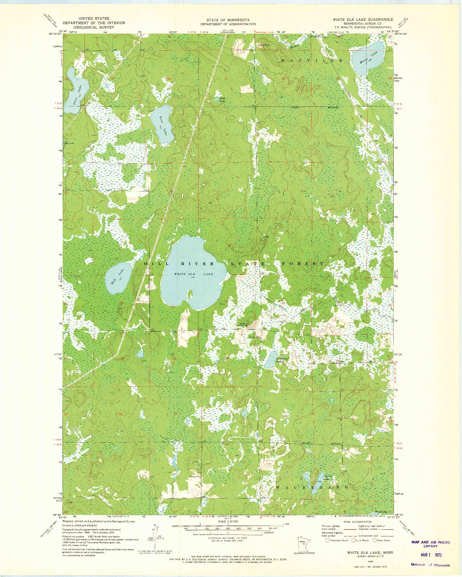 USGS 1:24000-SCALE QUADRANGLE FOR WHITE ELK LAKE, MN 1970