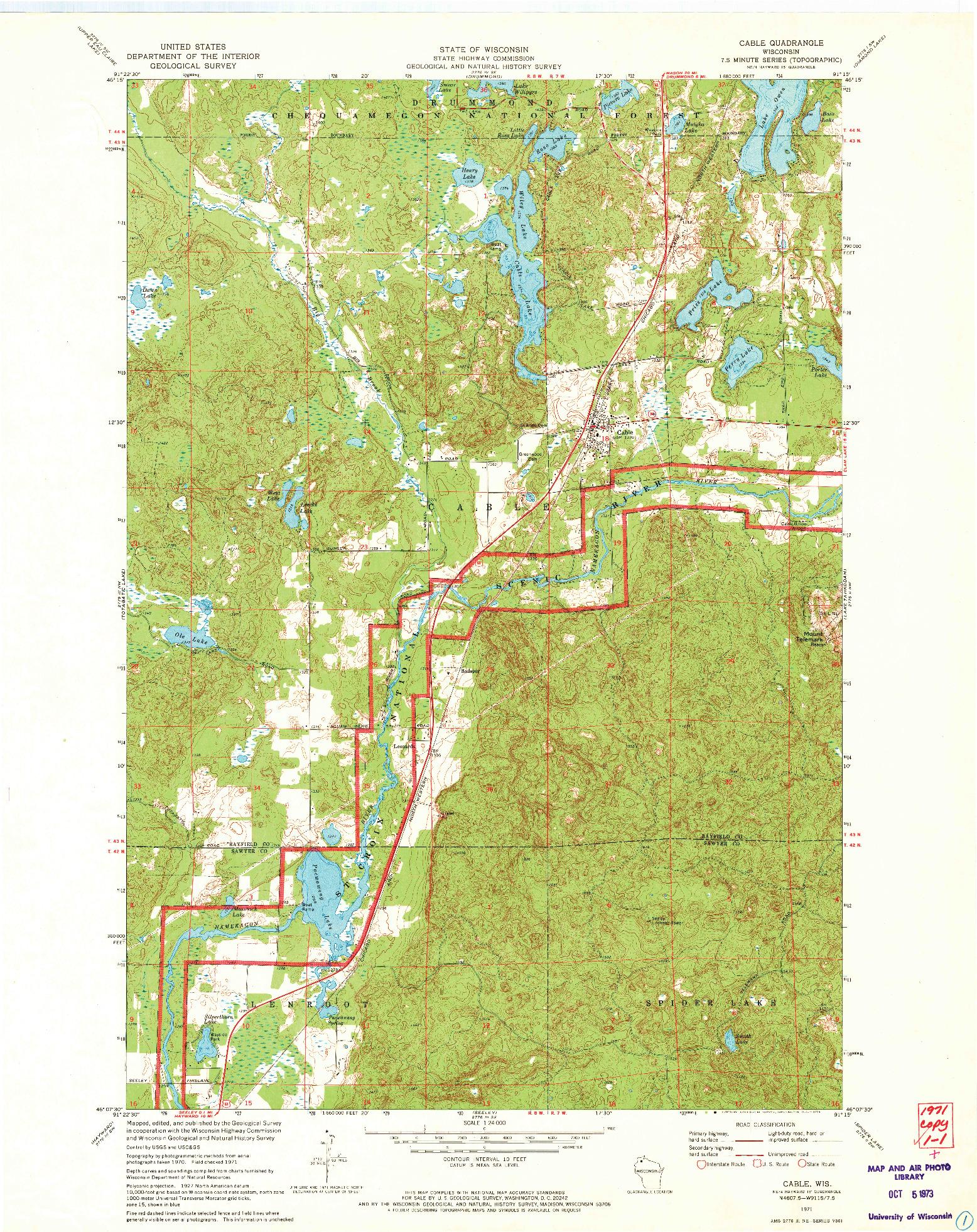 USGS 1:24000-SCALE QUADRANGLE FOR CABLE, WI 1971