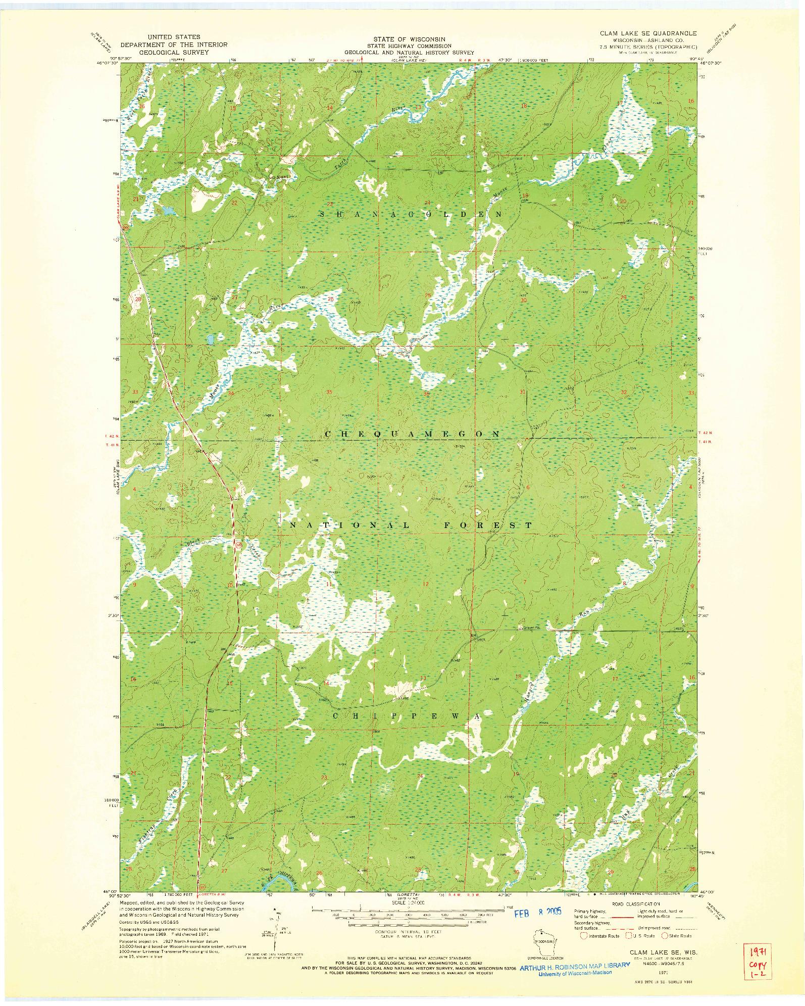USGS 1:24000-SCALE QUADRANGLE FOR CLAM LAKE SE, WI 1971