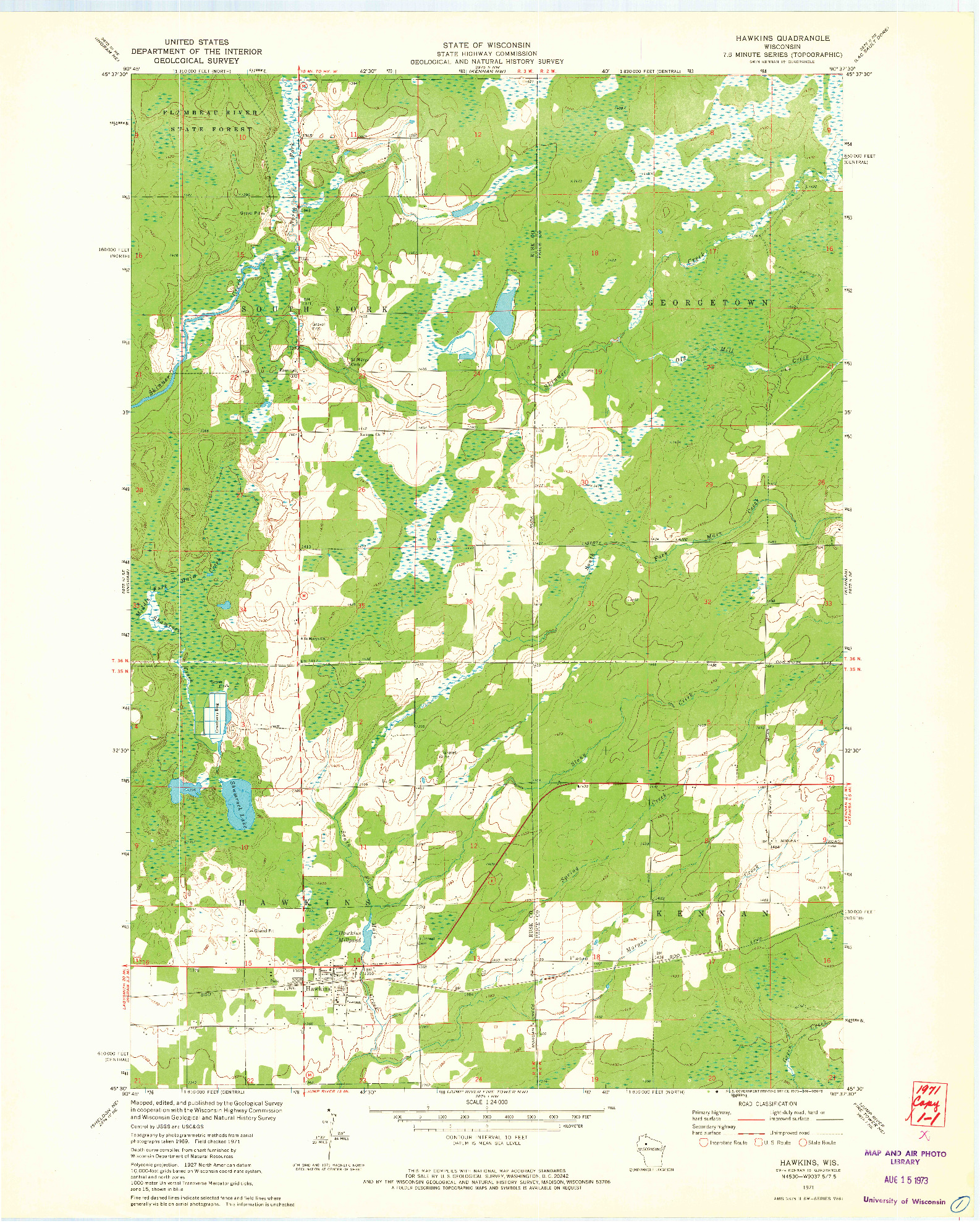 USGS 1:24000-SCALE QUADRANGLE FOR HAWKINS, WI 1971