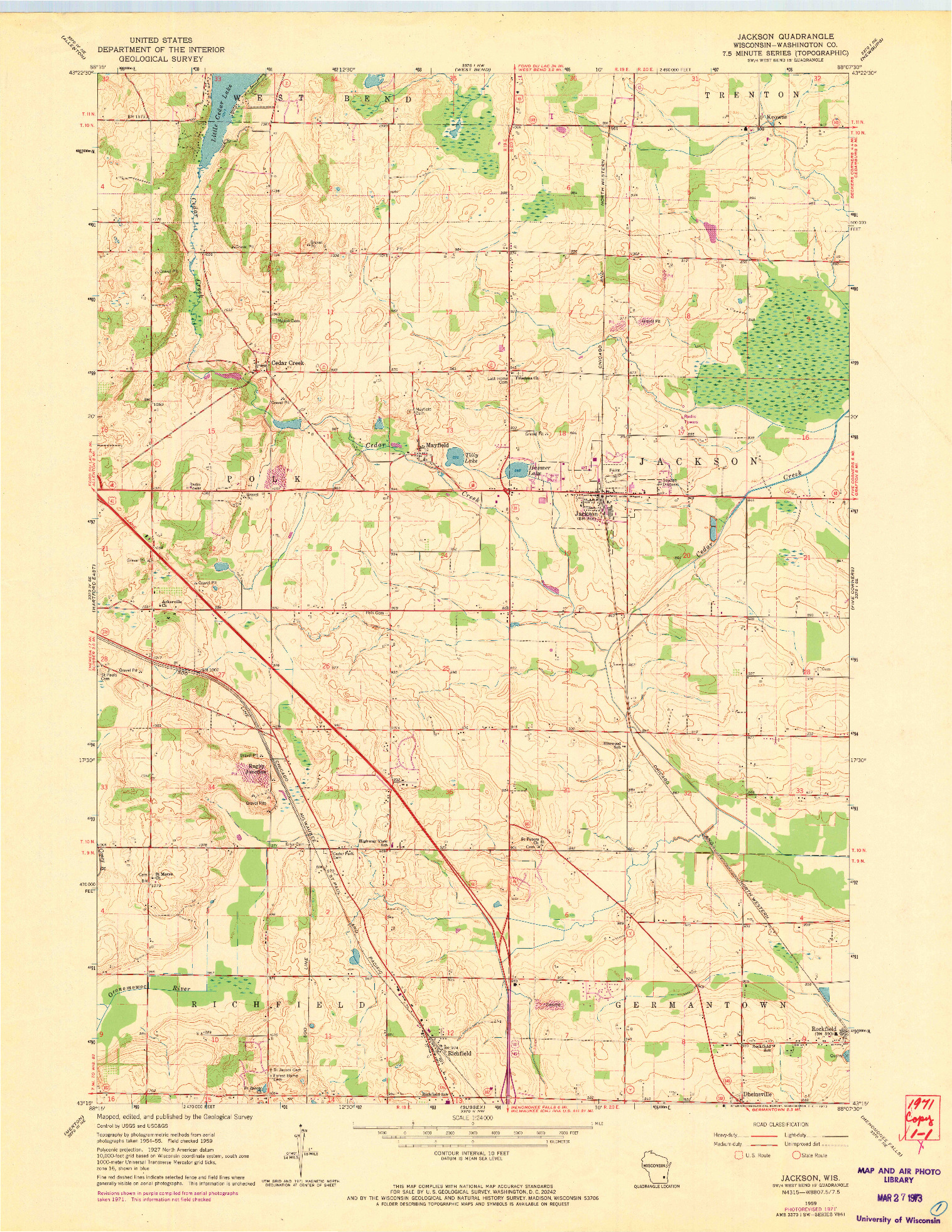 USGS 1:24000-SCALE QUADRANGLE FOR JACKSON, WI 1959