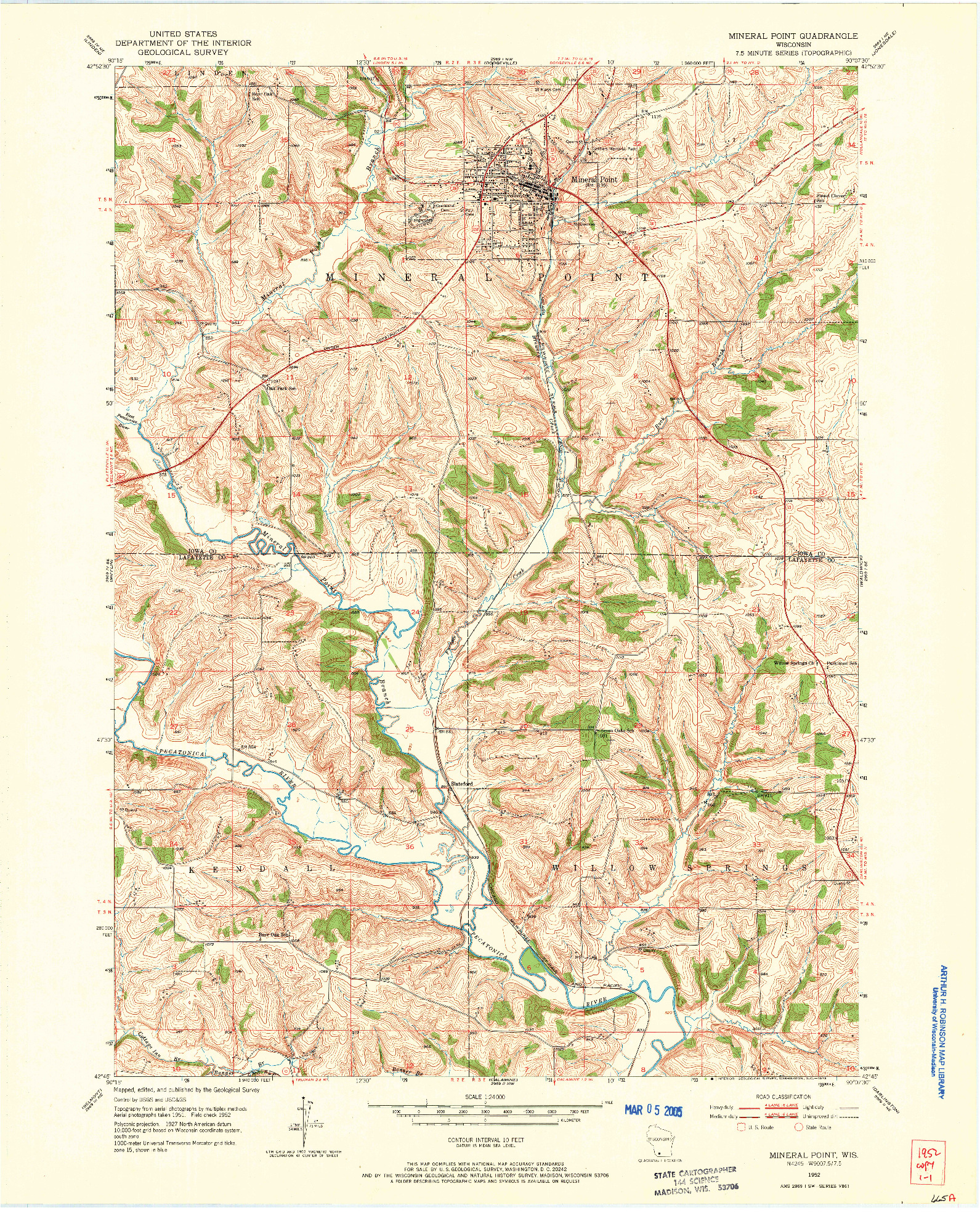 USGS 1:24000-SCALE QUADRANGLE FOR MINERAL POINT, WI 1952