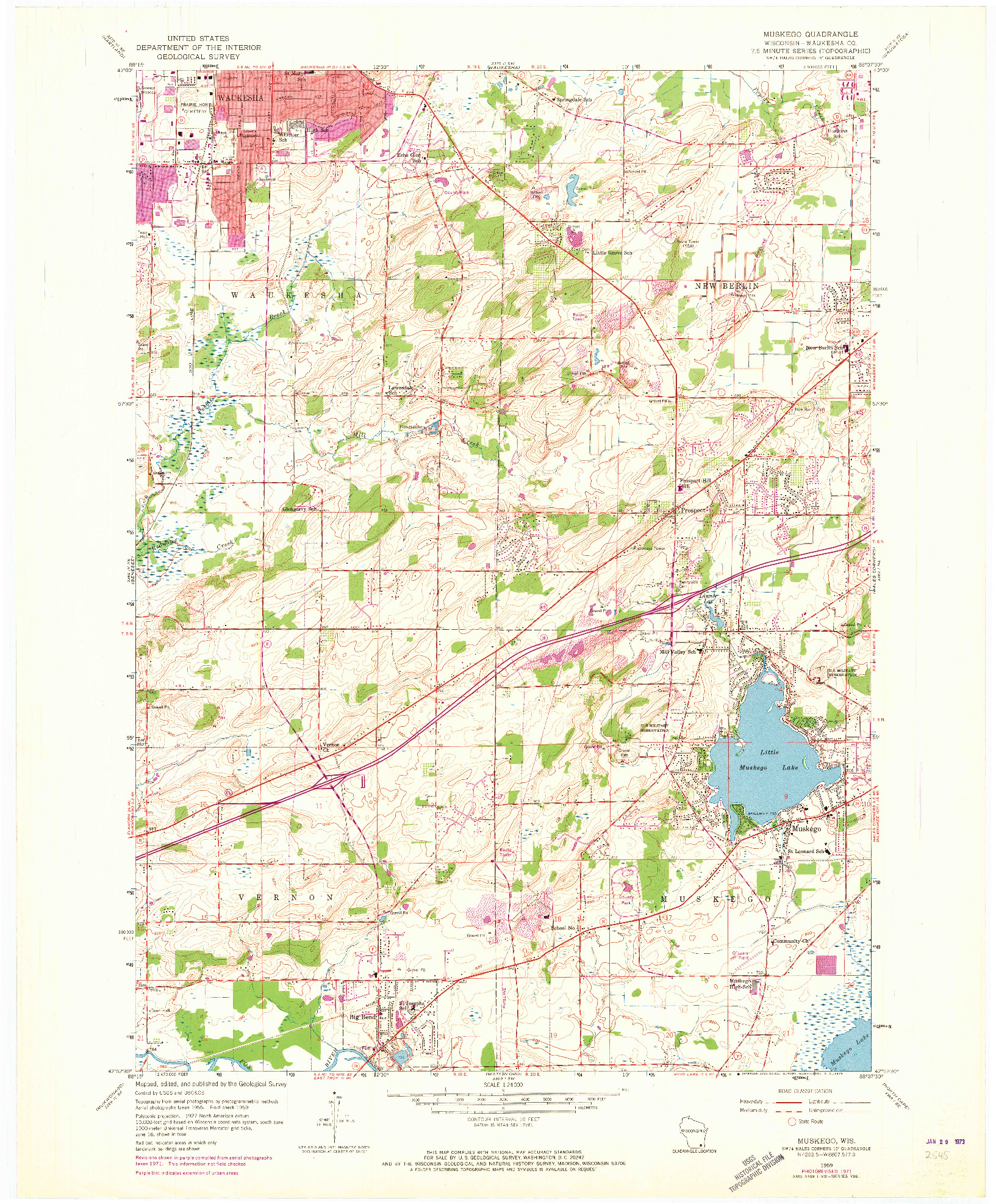 USGS 1:24000-SCALE QUADRANGLE FOR MUSKEGO, WI 1959