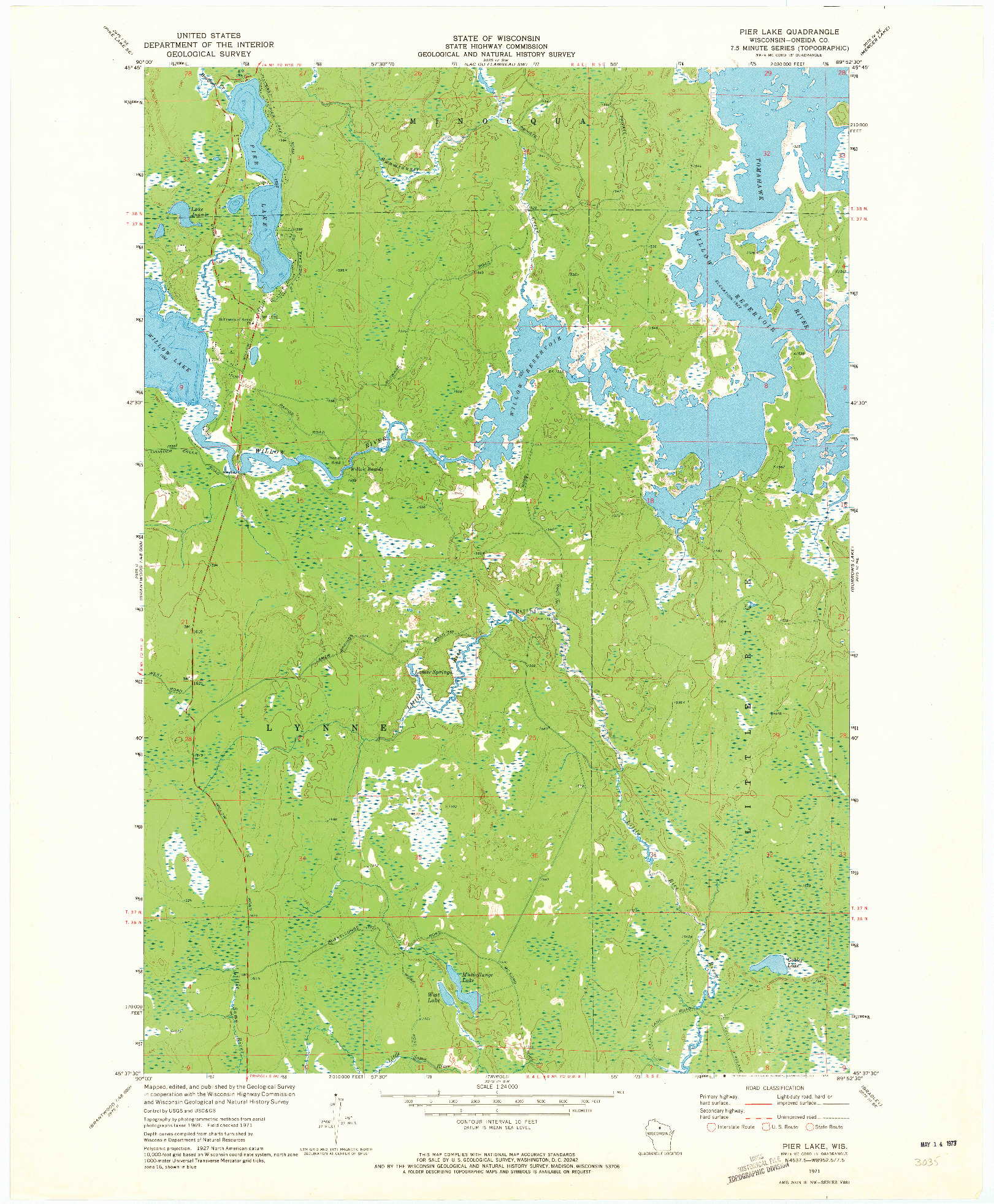 USGS 1:24000-SCALE QUADRANGLE FOR PIER LAKE, WI 1971