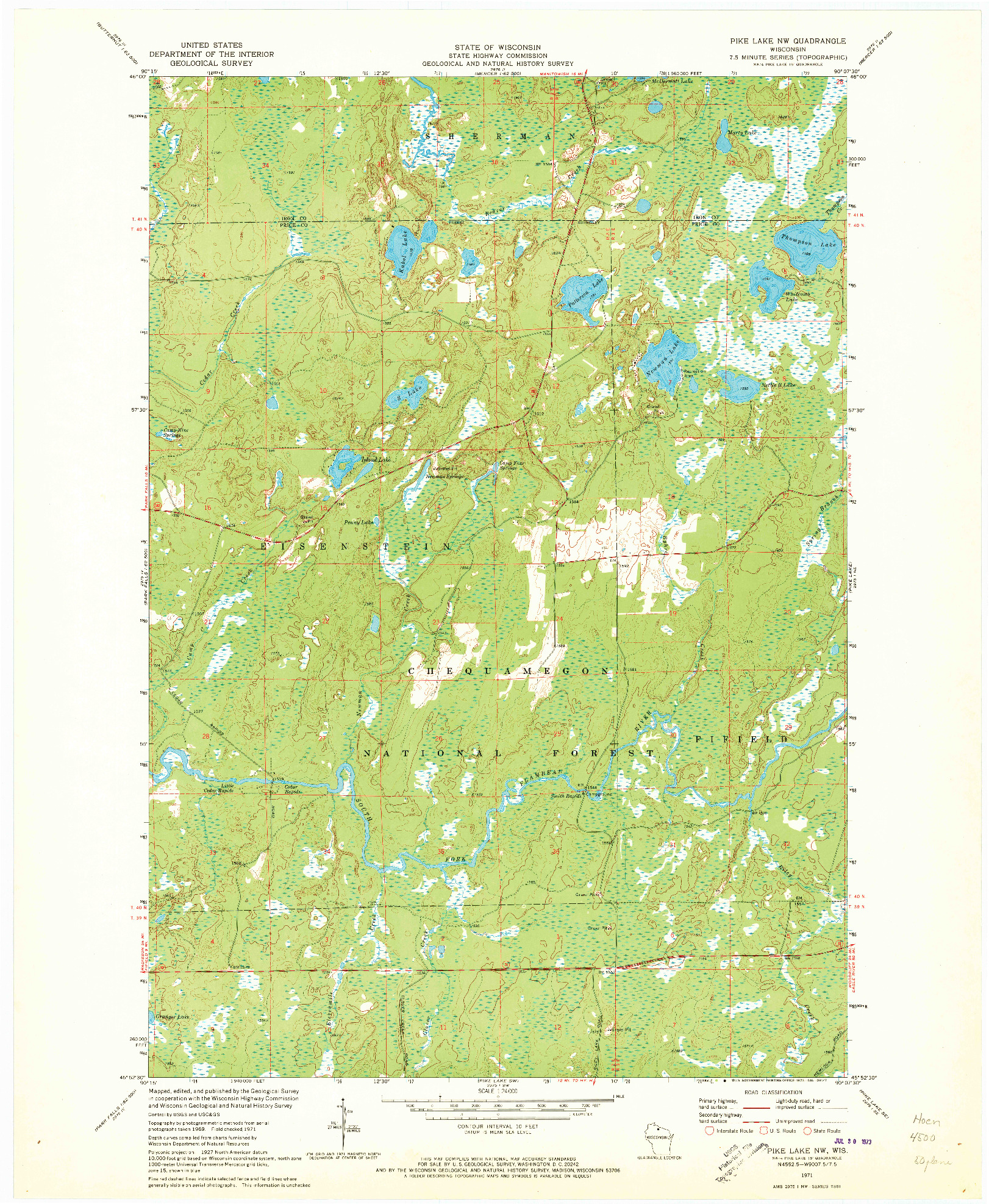 USGS 1:24000-SCALE QUADRANGLE FOR PIKE LAKE NW, WI 1971
