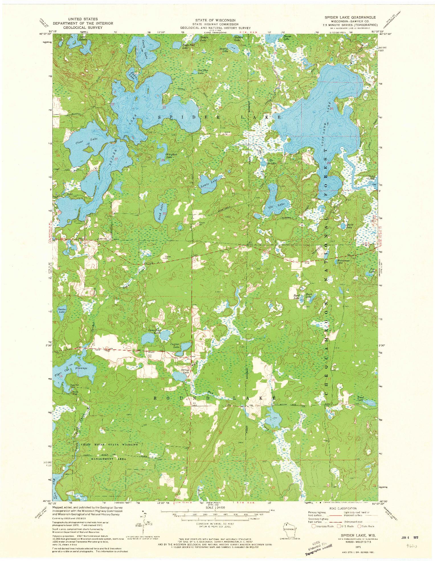 USGS 1:24000-SCALE QUADRANGLE FOR SPIDER LAKE, WI 1971