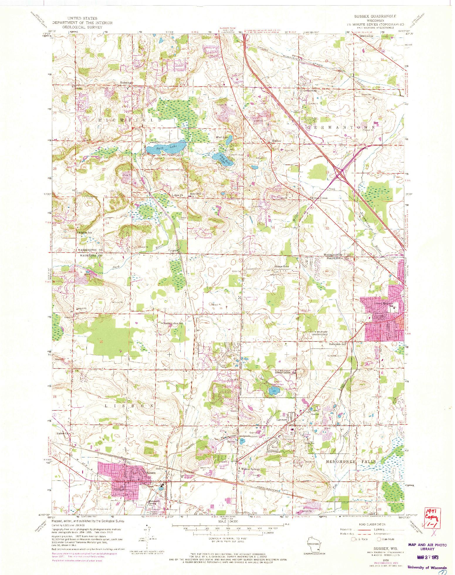 USGS 1:24000-SCALE QUADRANGLE FOR SUSSEX, WI 1959