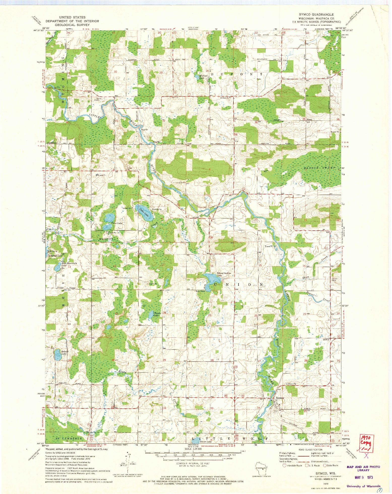 USGS 1:24000-SCALE QUADRANGLE FOR SYMCO, WI 1970