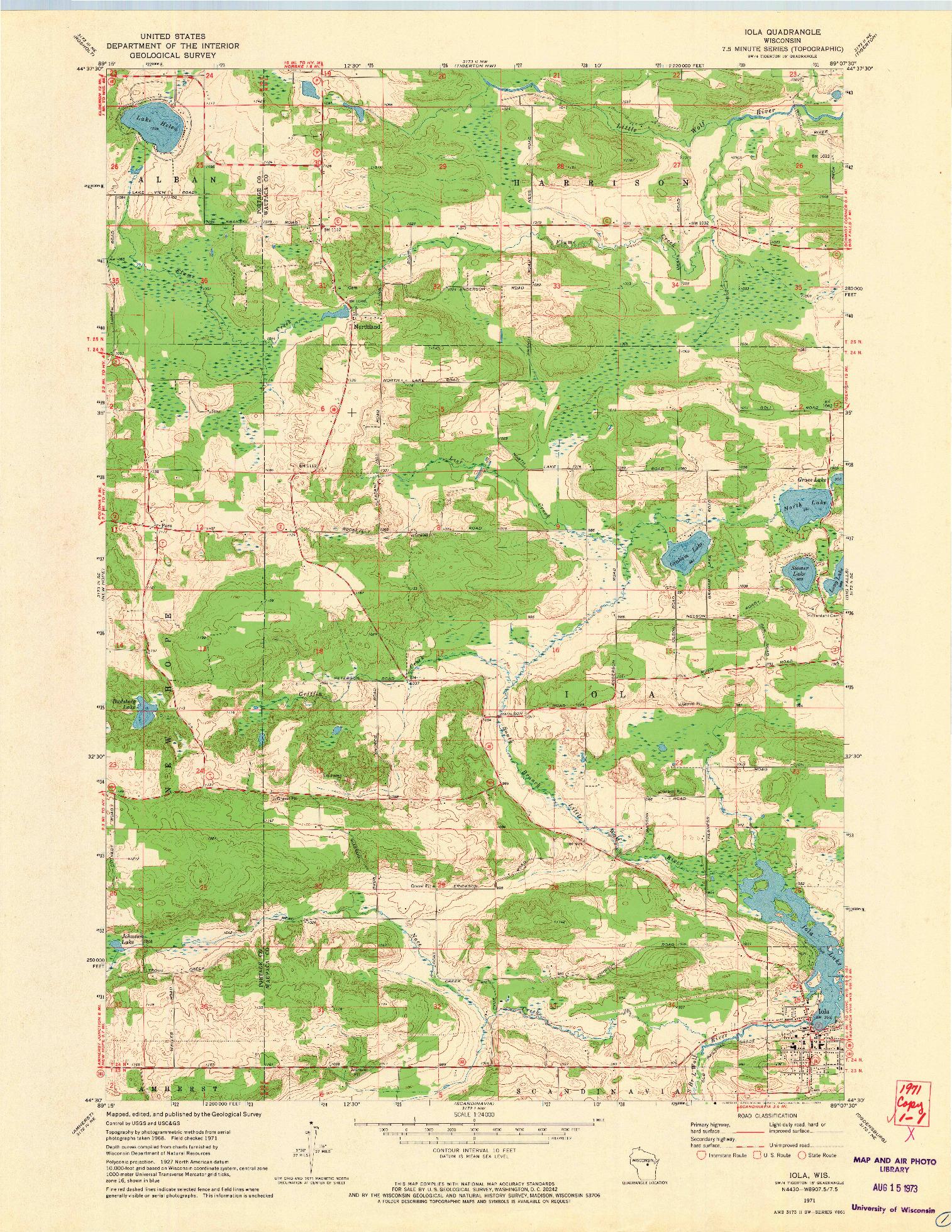 USGS 1:24000-SCALE QUADRANGLE FOR IOLA, WI 1971