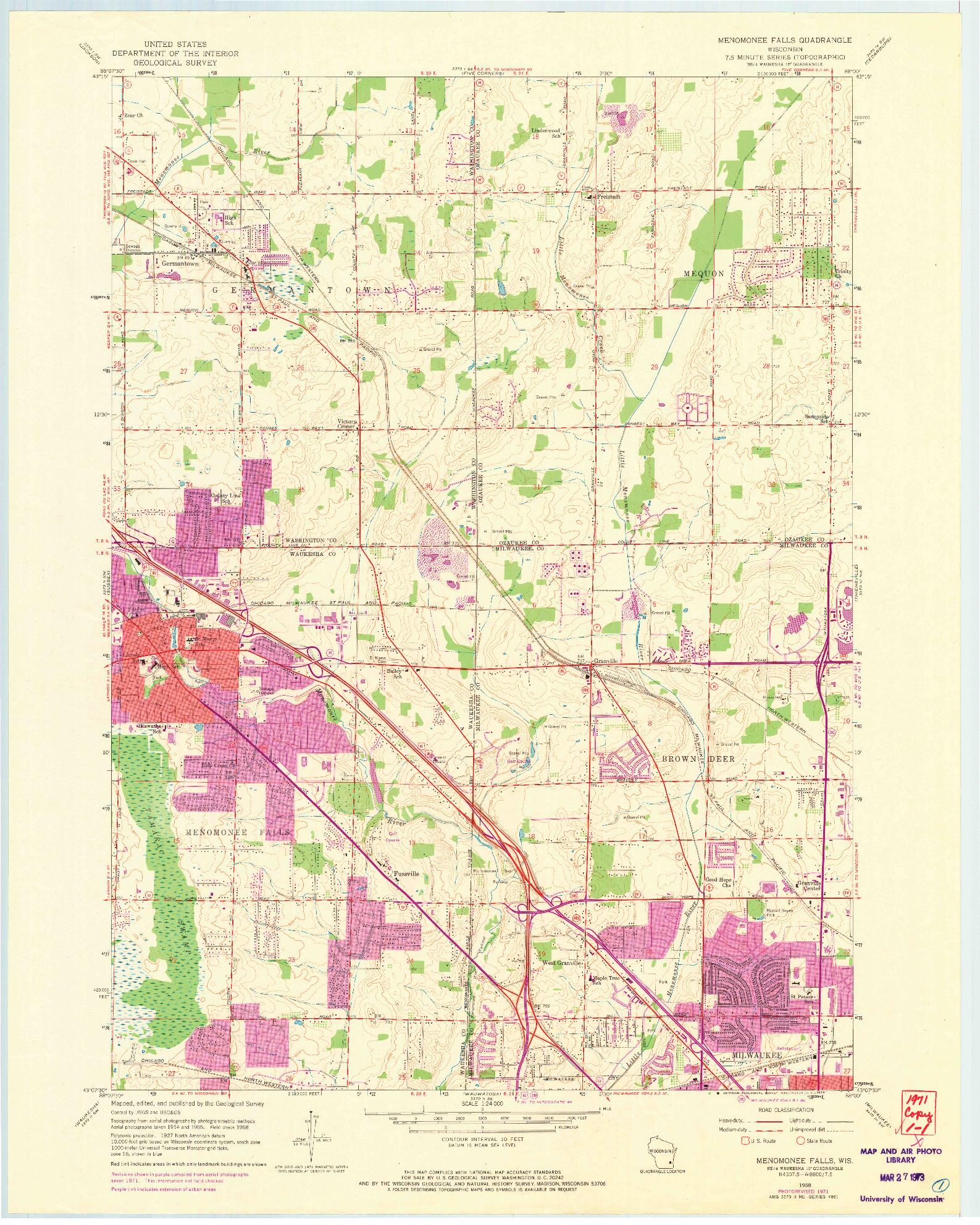 USGS 1:24000-SCALE QUADRANGLE FOR MENOMONEE FALLS, WI 1958