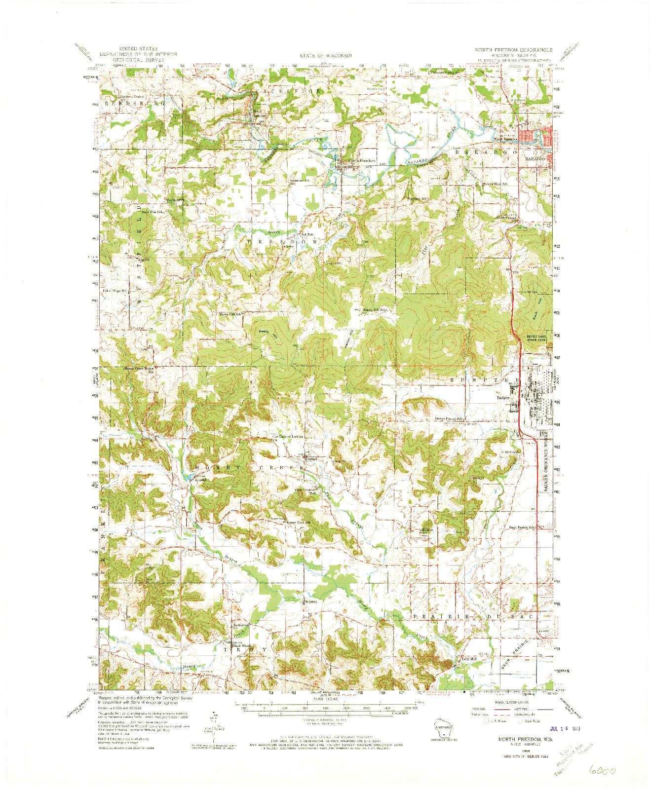 USGS 1:62500-SCALE QUADRANGLE FOR NORTH FREEDOM, WI 1958