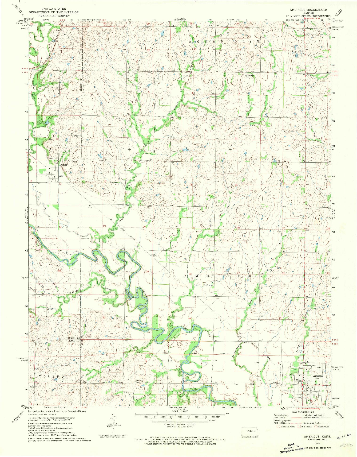 USGS 1:24000-SCALE QUADRANGLE FOR AMERICUS, KS 1972