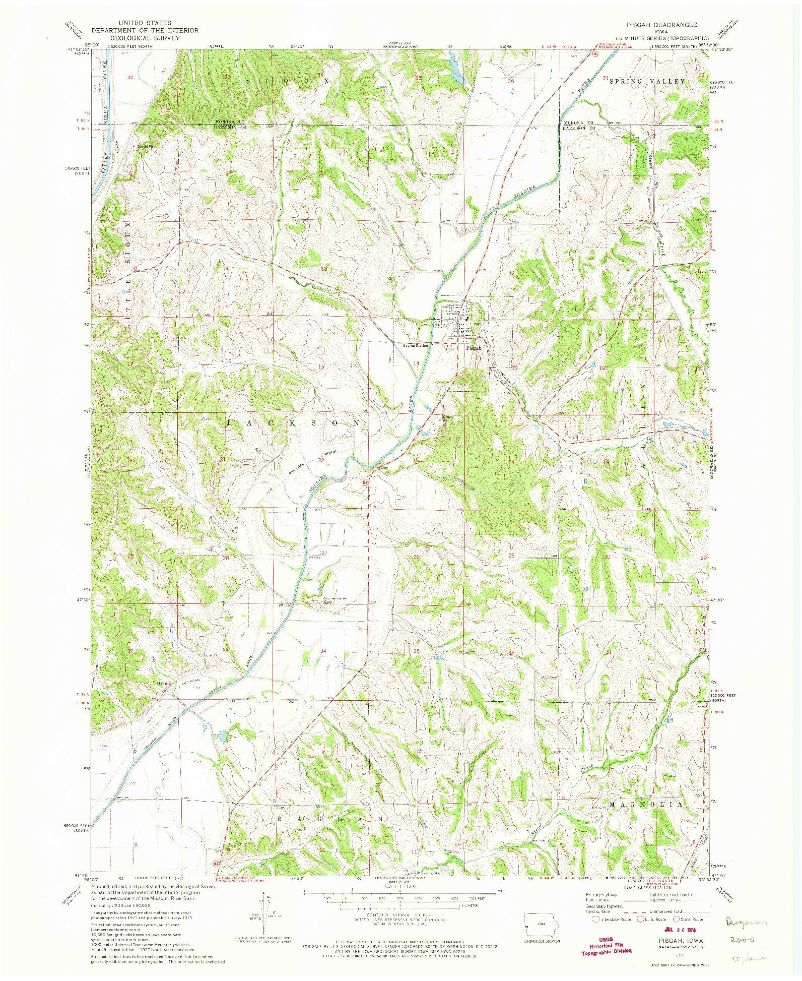 USGS 1:24000-SCALE QUADRANGLE FOR PISGAH, IA 1971