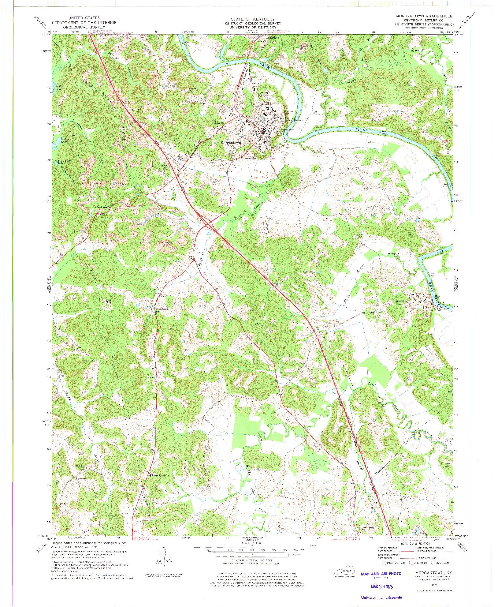 USGS 1:24000-SCALE QUADRANGLE FOR MORGANTOWN, KY 1973