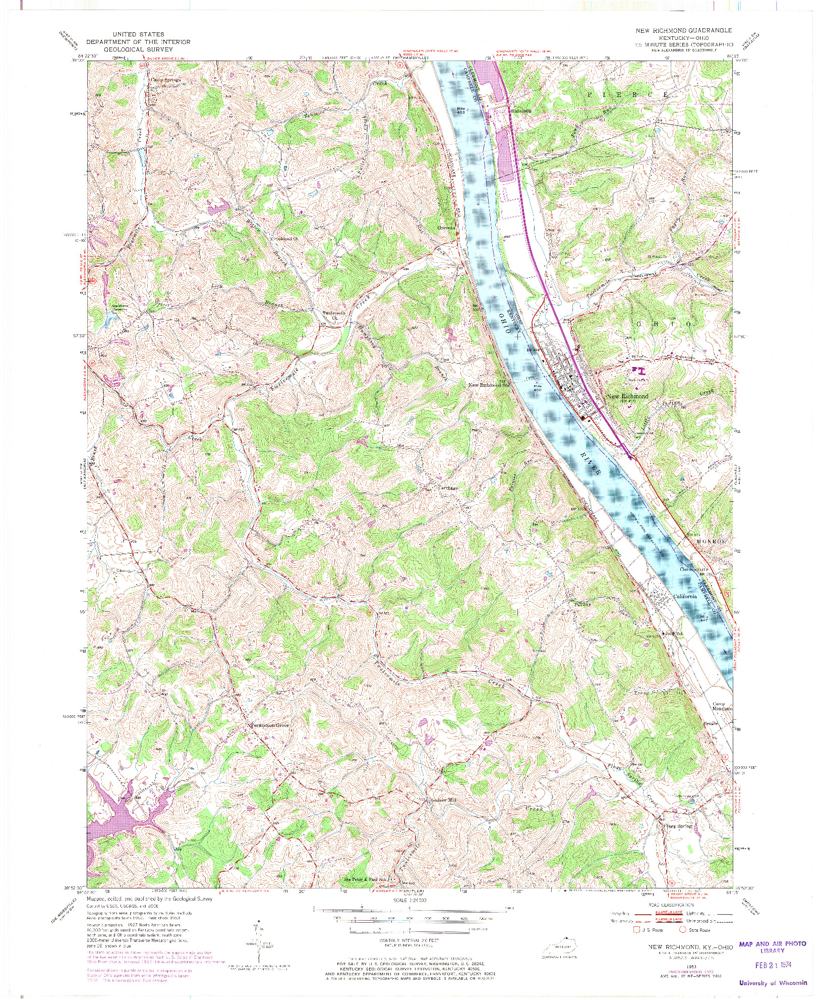 USGS 1:24000-SCALE QUADRANGLE FOR NEW RICHMOND, KY 1953