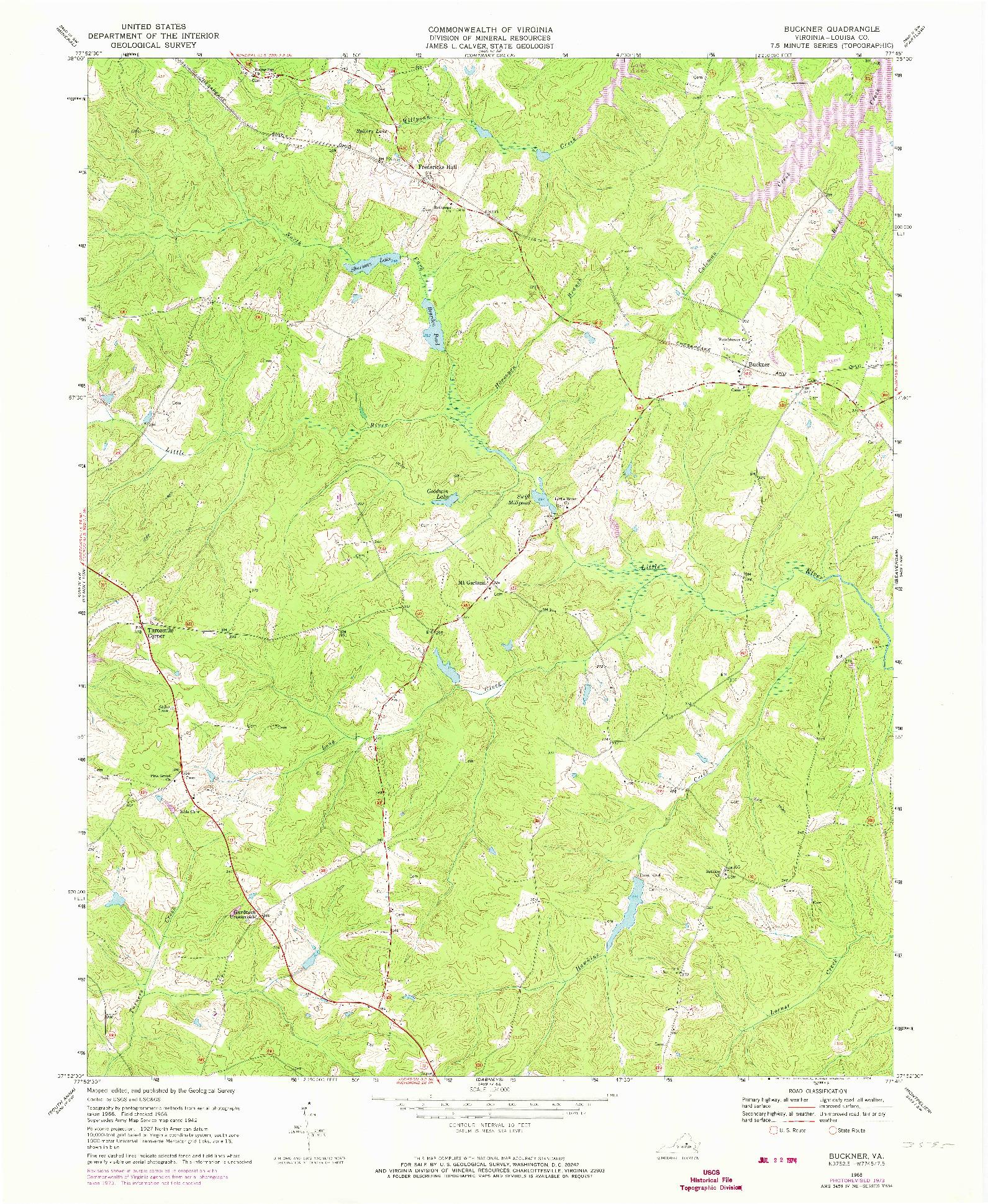 USGS 1:24000-SCALE QUADRANGLE FOR BUCKNER, VA 1968