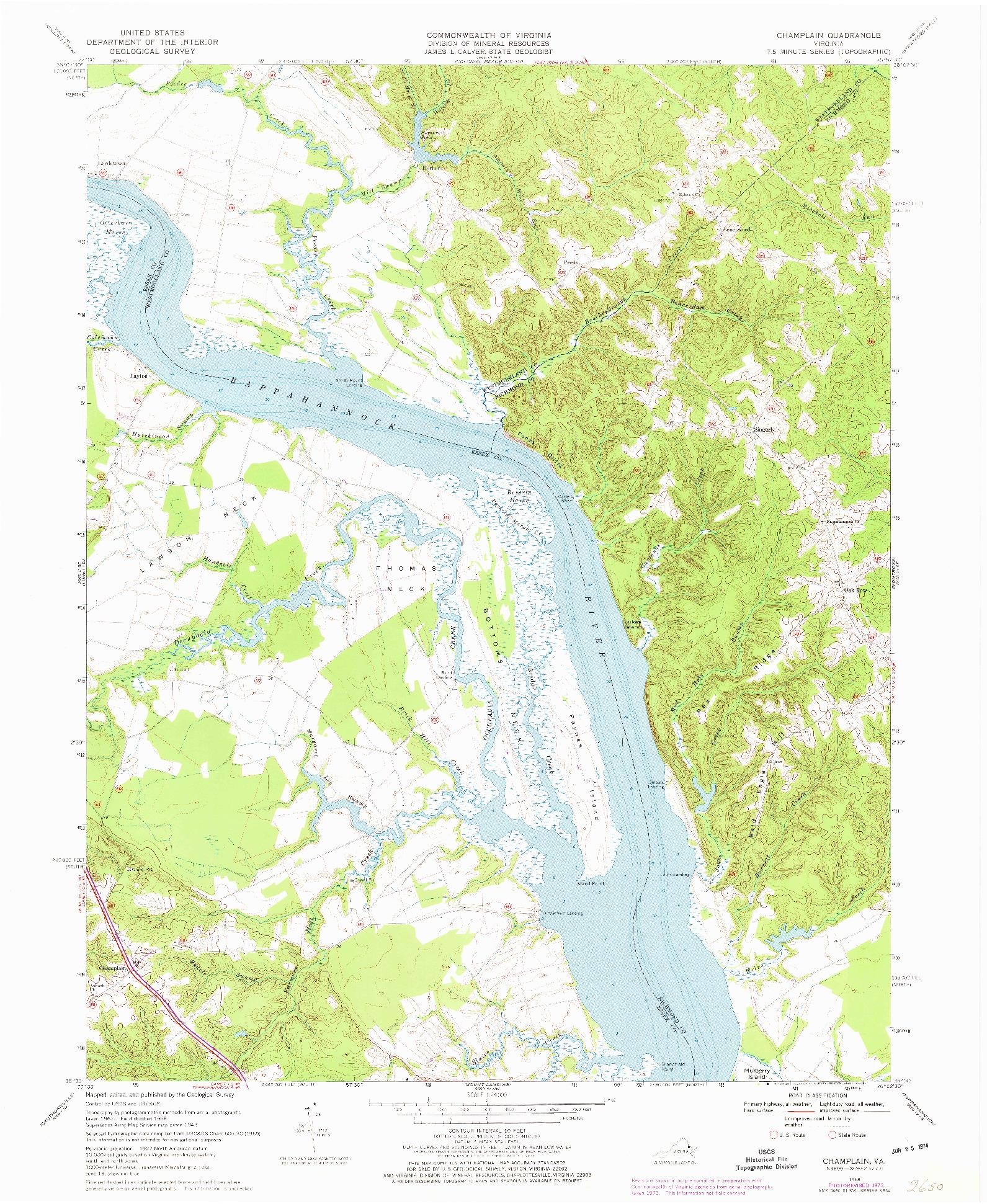 USGS 1:24000-SCALE QUADRANGLE FOR CHAMPLAIN, VA 1968