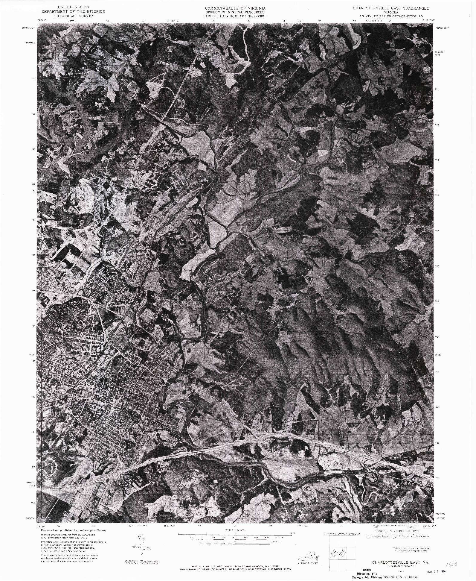 USGS 1:24000-SCALE QUADRANGLE FOR CHARLOTTESVILLE EAST, VA 1972