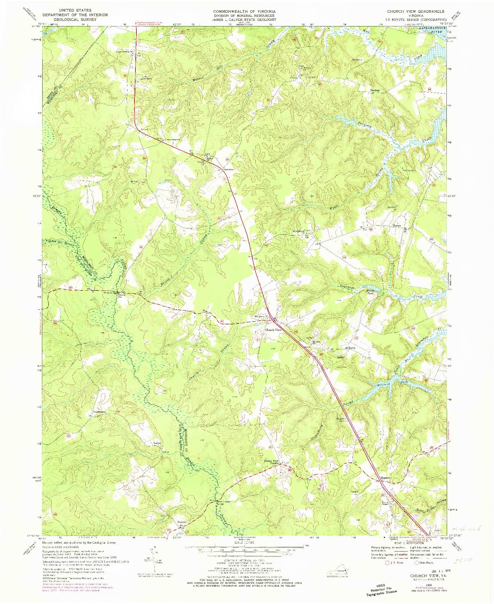 USGS 1:24000-SCALE QUADRANGLE FOR CHURCH VIEW, VA 1968