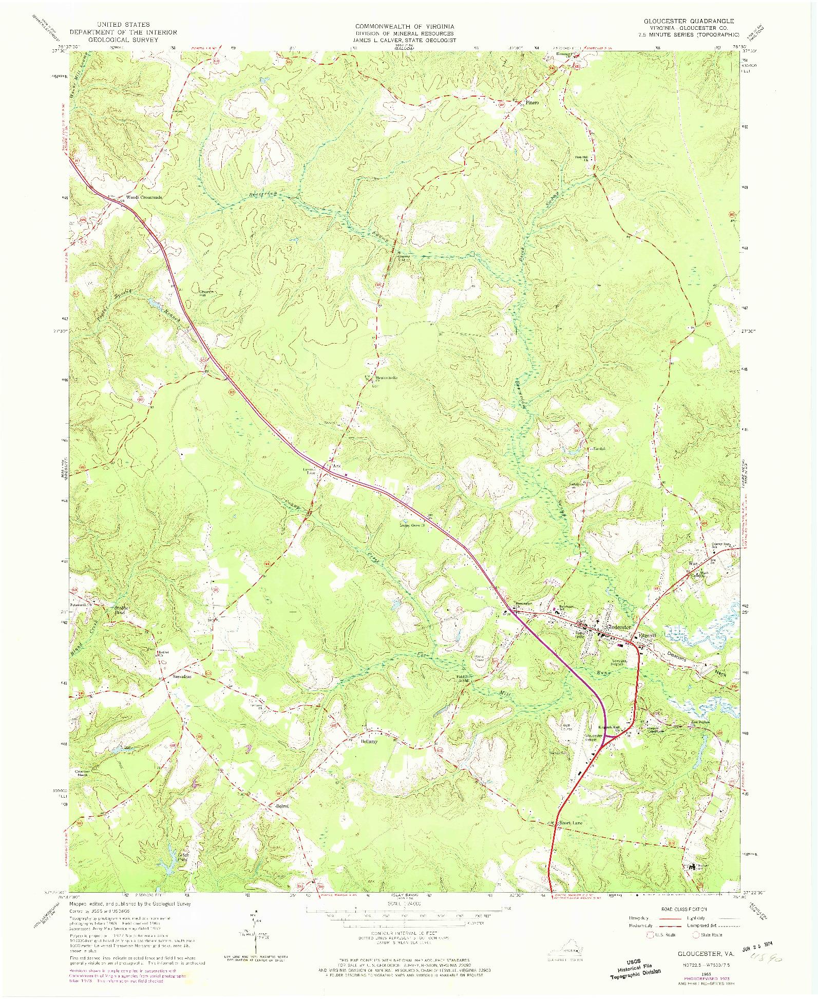 USGS 1:24000-SCALE QUADRANGLE FOR GLOUCESTER, VA 1965