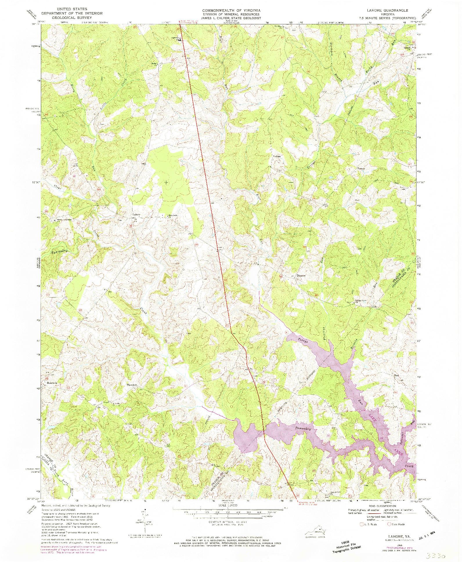 USGS 1:24000-SCALE QUADRANGLE FOR LAHORE, VA 1968