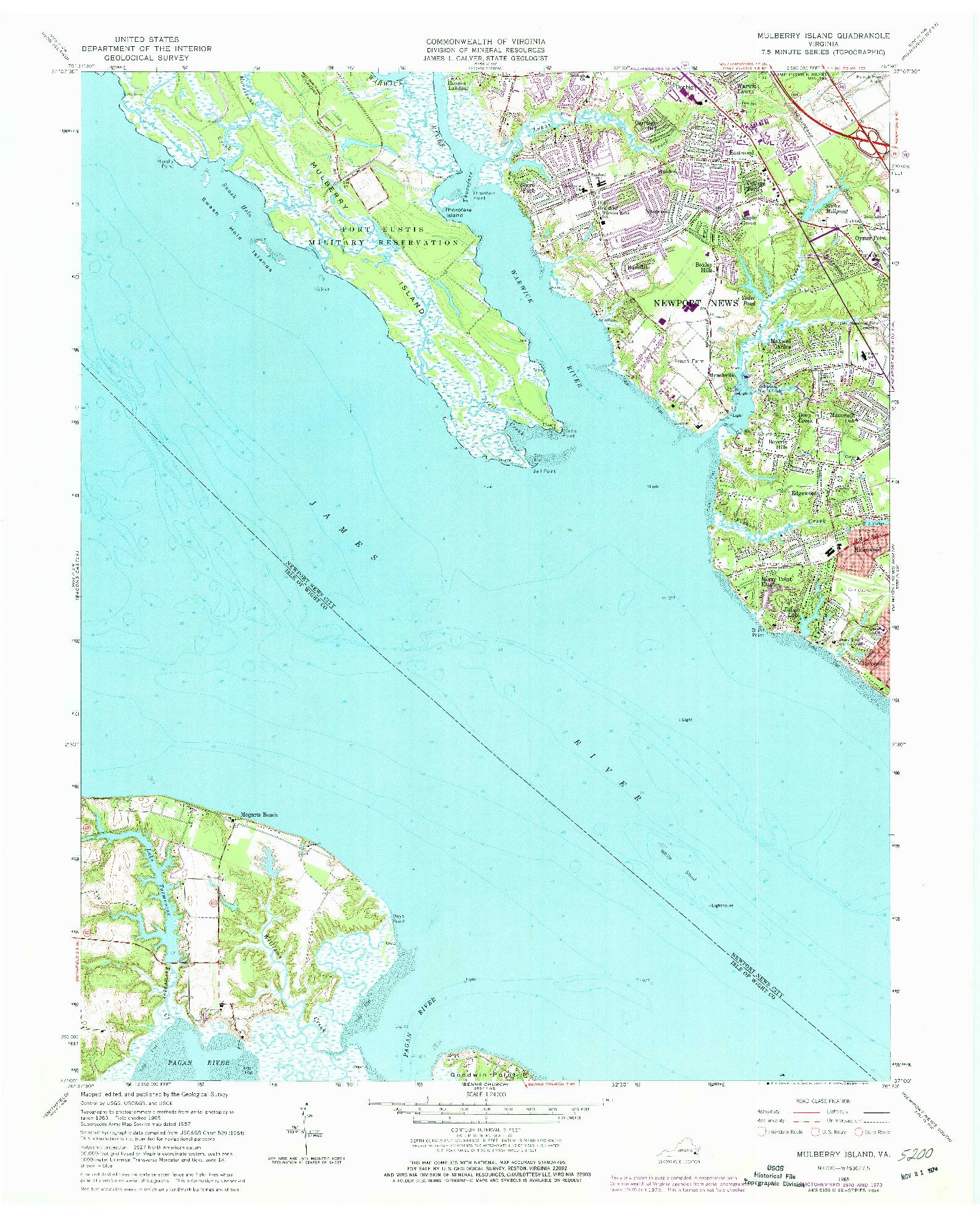 USGS 1:24000-SCALE QUADRANGLE FOR MULBERRY ISLAND, VA 1965