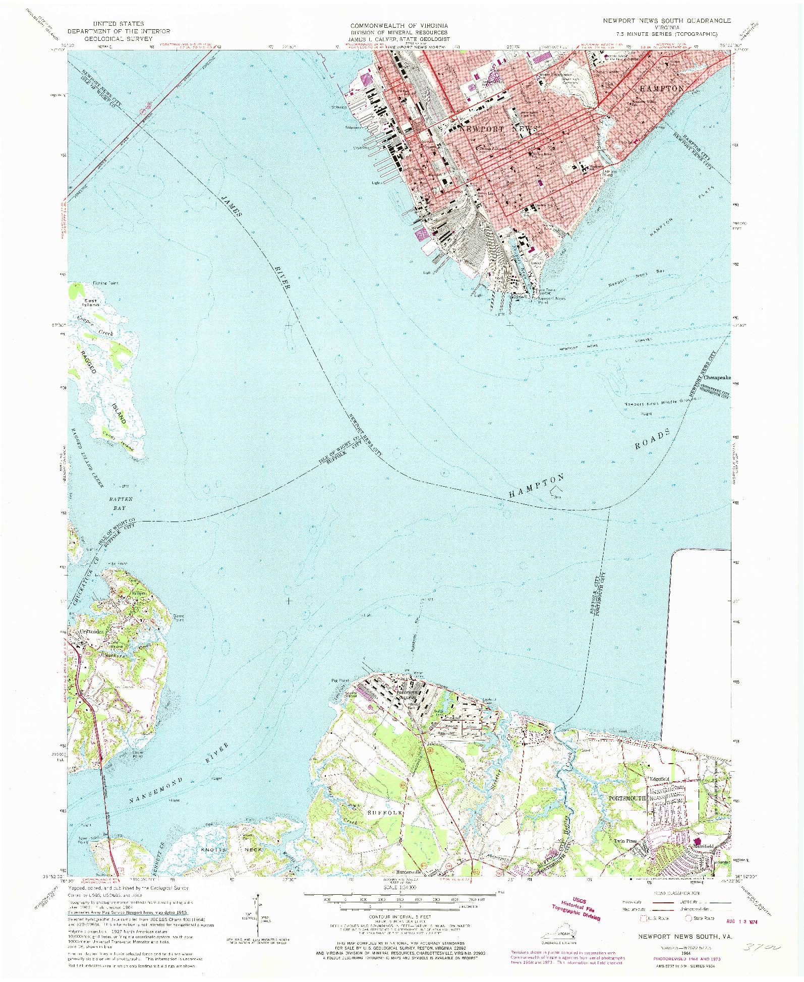 USGS 1:24000-SCALE QUADRANGLE FOR NEWPORT NEWS SOUTH, VA 1964