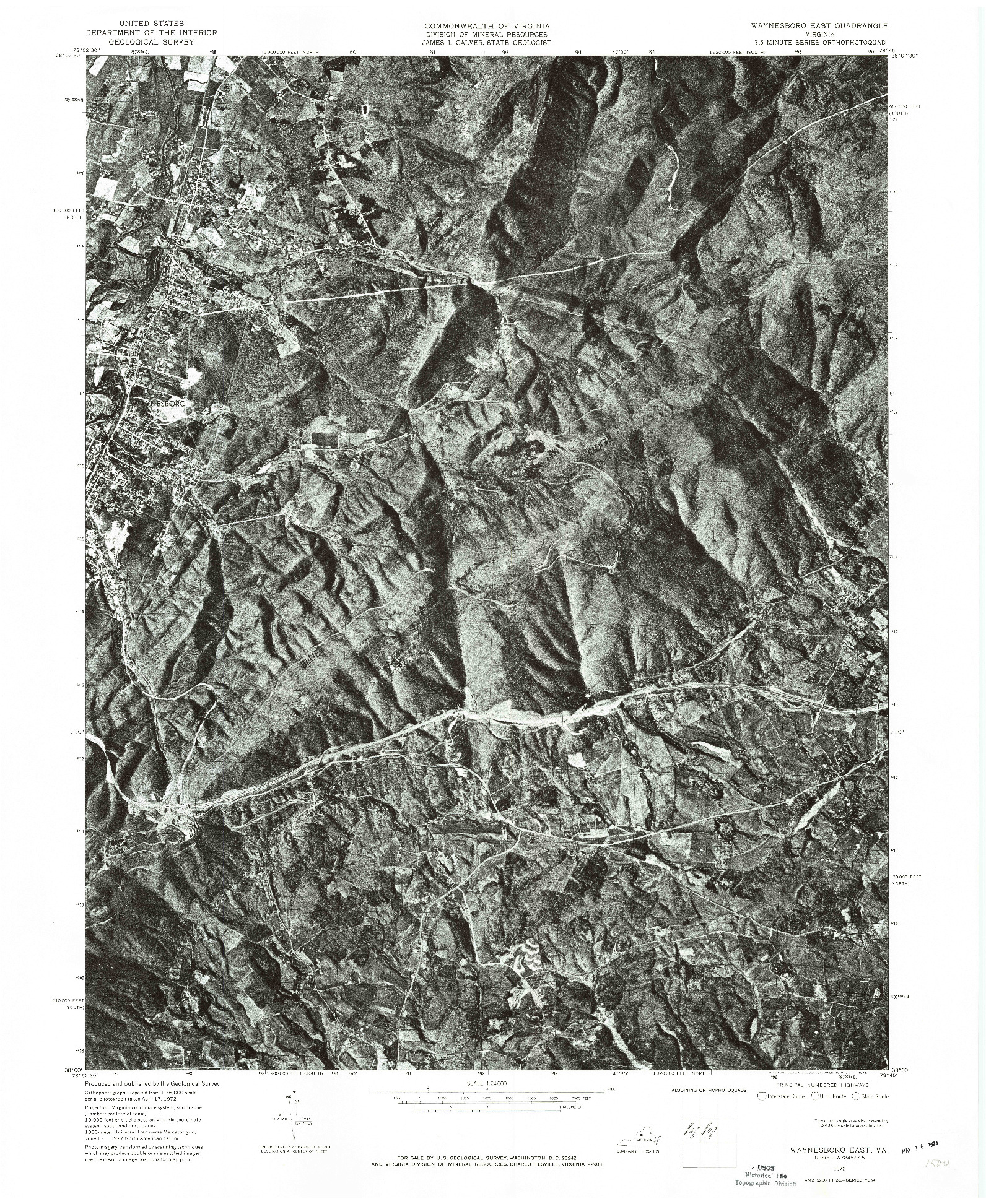 USGS 1:24000-SCALE QUADRANGLE FOR WAYNESBORO EAST, VA 1972