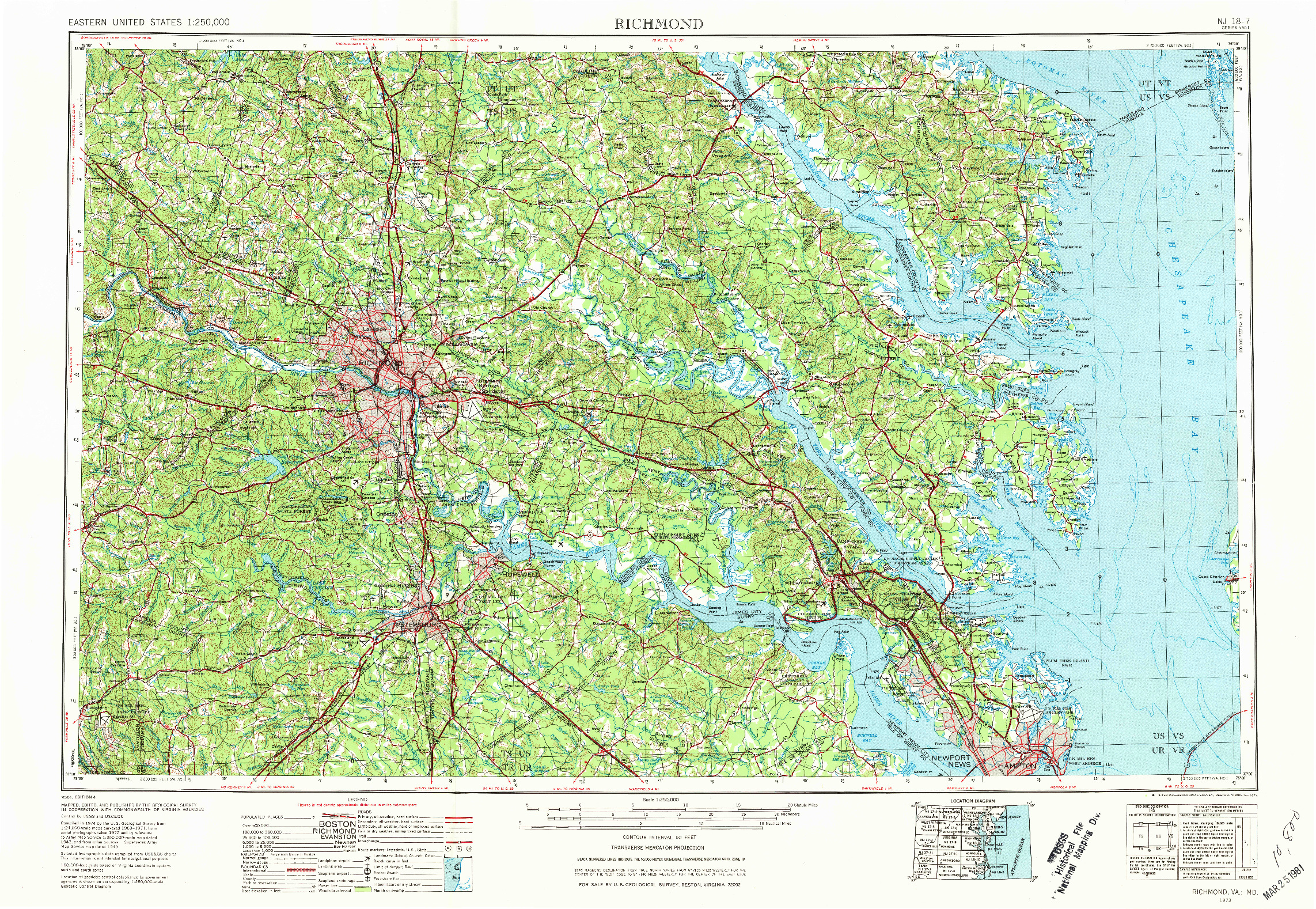 USGS 1:250000-SCALE QUADRANGLE FOR RICHMOND, VA 1973