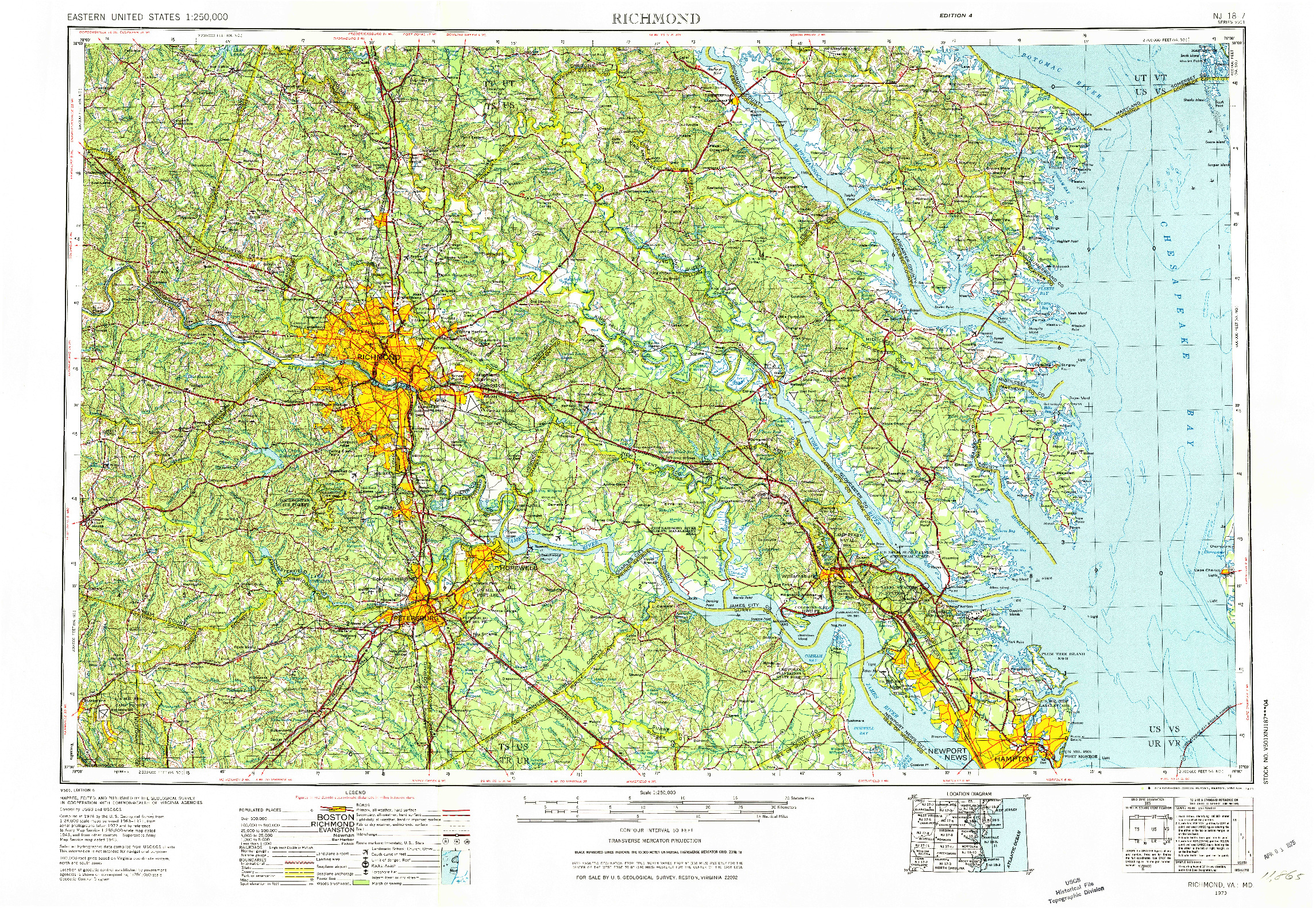 USGS 1:250000-SCALE QUADRANGLE FOR RICHMOND, VA 1973