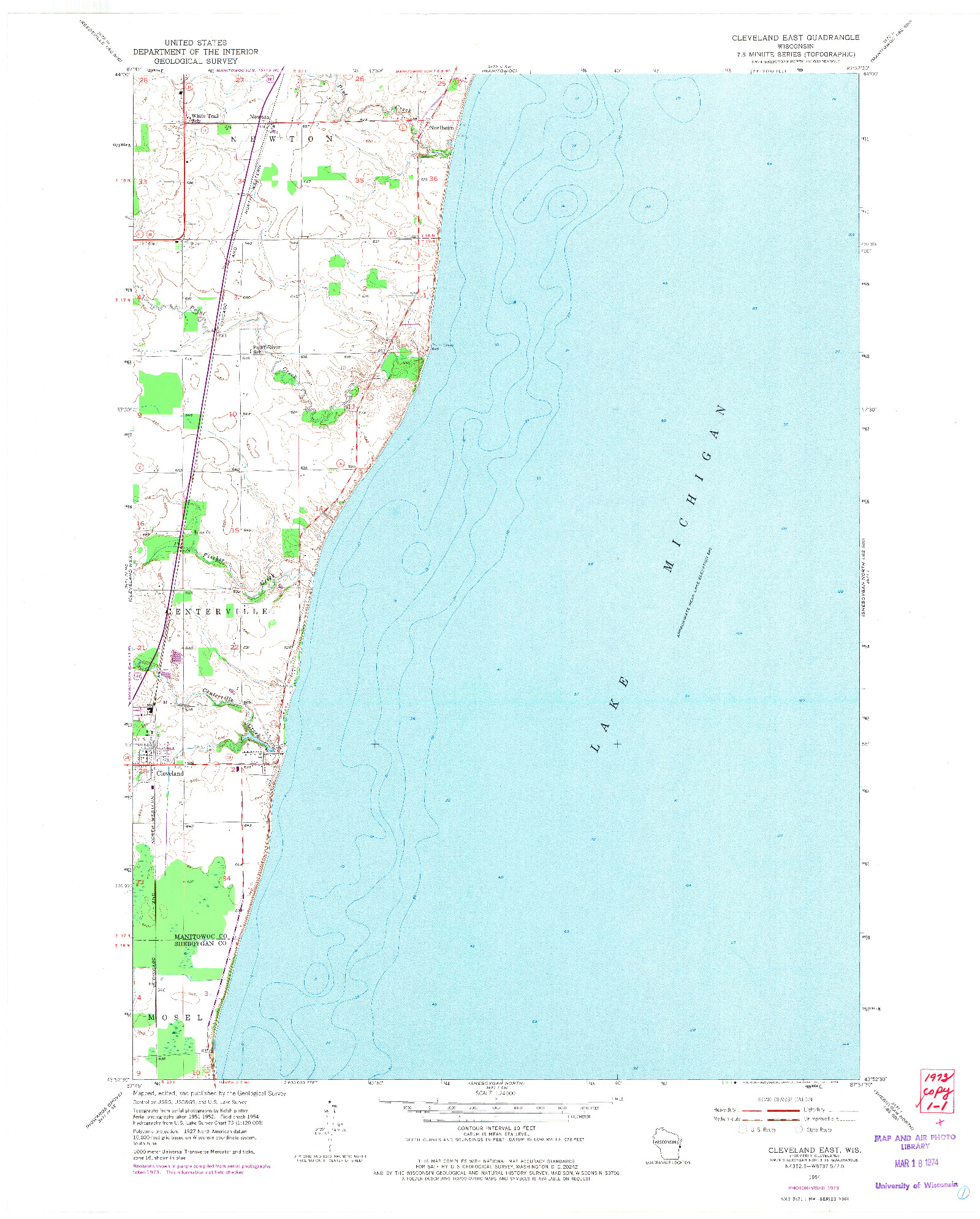 USGS 1:24000-SCALE QUADRANGLE FOR CLEVELAND EAST, WI 1954