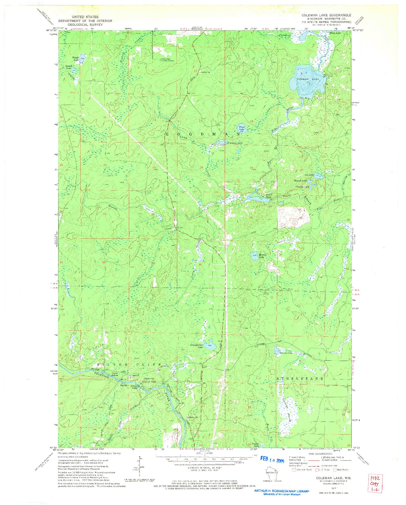 USGS 1:24000-SCALE QUADRANGLE FOR COLEMAN LAKE, WI 1972