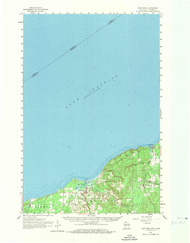 USGS 1:62500-SCALE QUADRANGLE FOR PORT WING, WI 1961