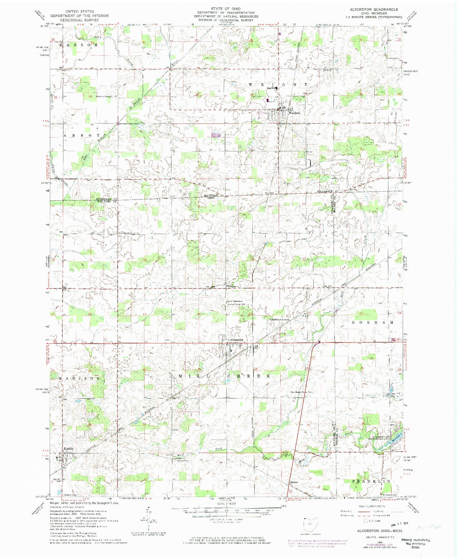 USGS 1:24000-SCALE QUADRANGLE FOR ALVORDTON, OH 1961