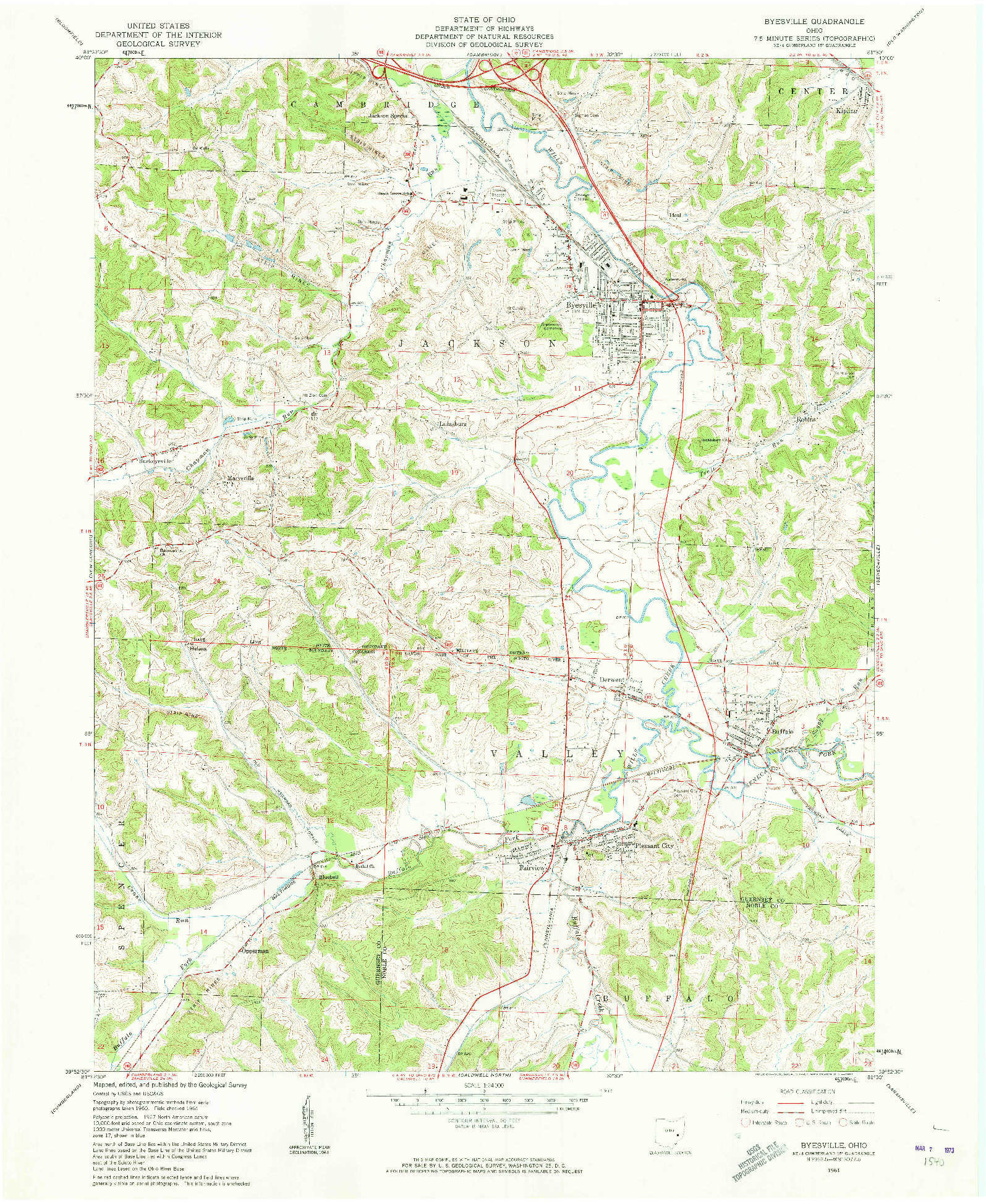 USGS 1:24000-SCALE QUADRANGLE FOR BYESVILLE, OH 1961