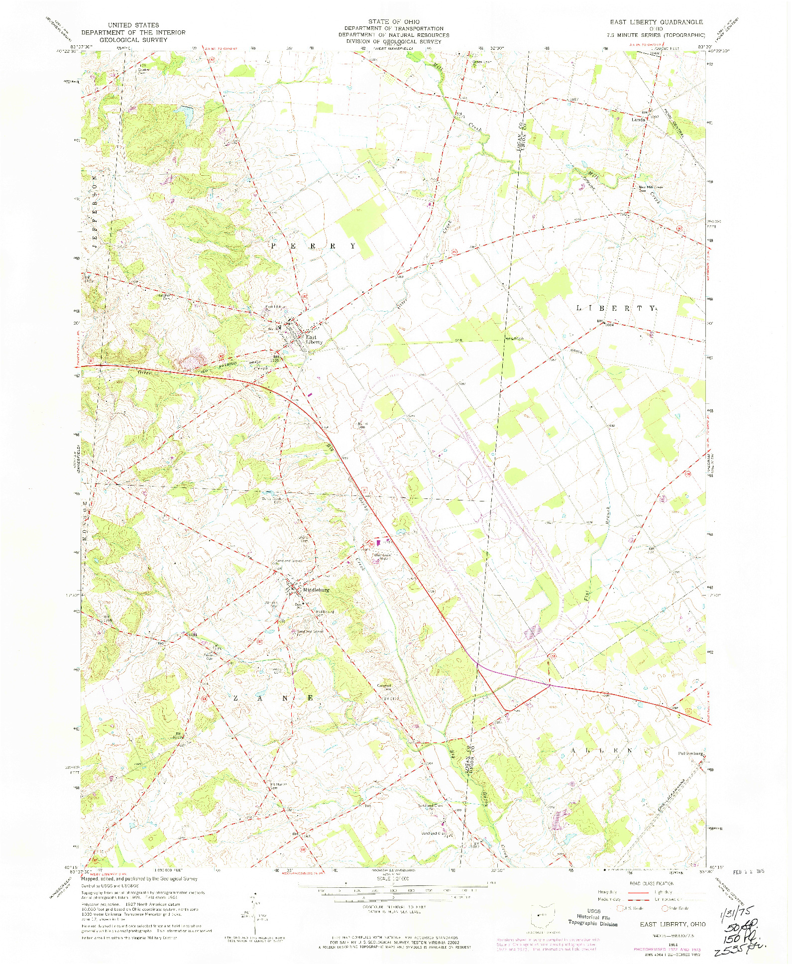 USGS 1:24000-SCALE QUADRANGLE FOR EAST LIBERTY, OH 1961