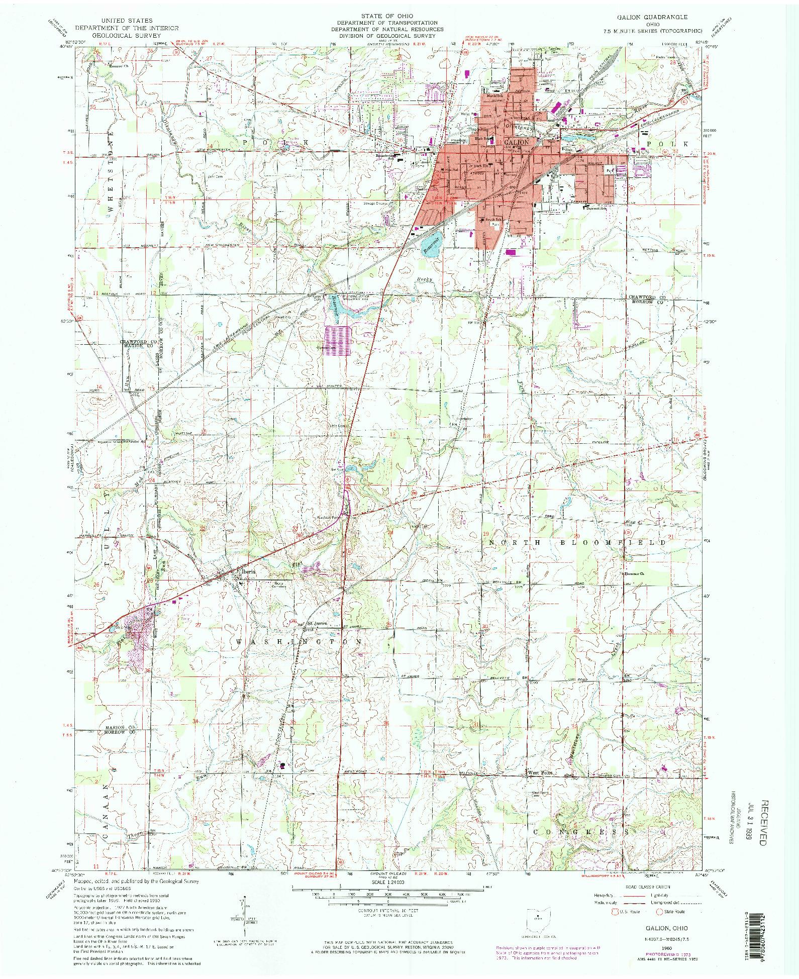 USGS 1:24000-SCALE QUADRANGLE FOR GALION, OH 1960
