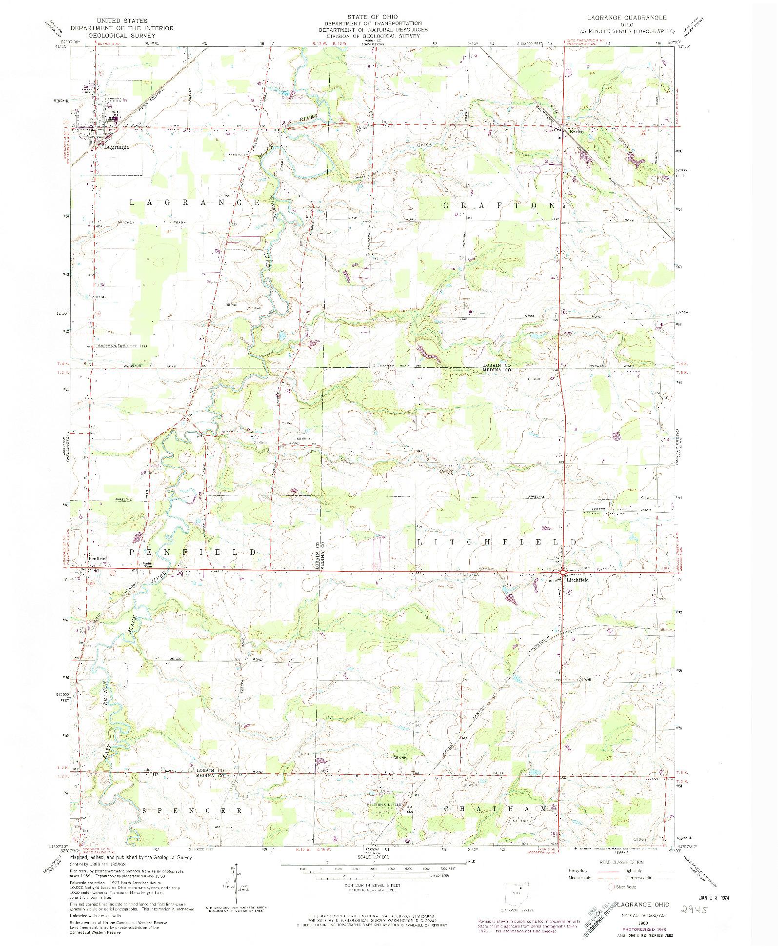 USGS 1:24000-SCALE QUADRANGLE FOR LAGRANGE, OH 1960