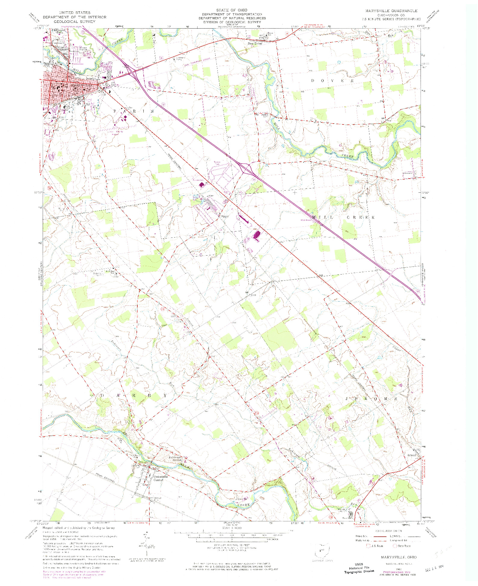 USGS 1:24000-SCALE QUADRANGLE FOR MARYSVILLE, OH 1961