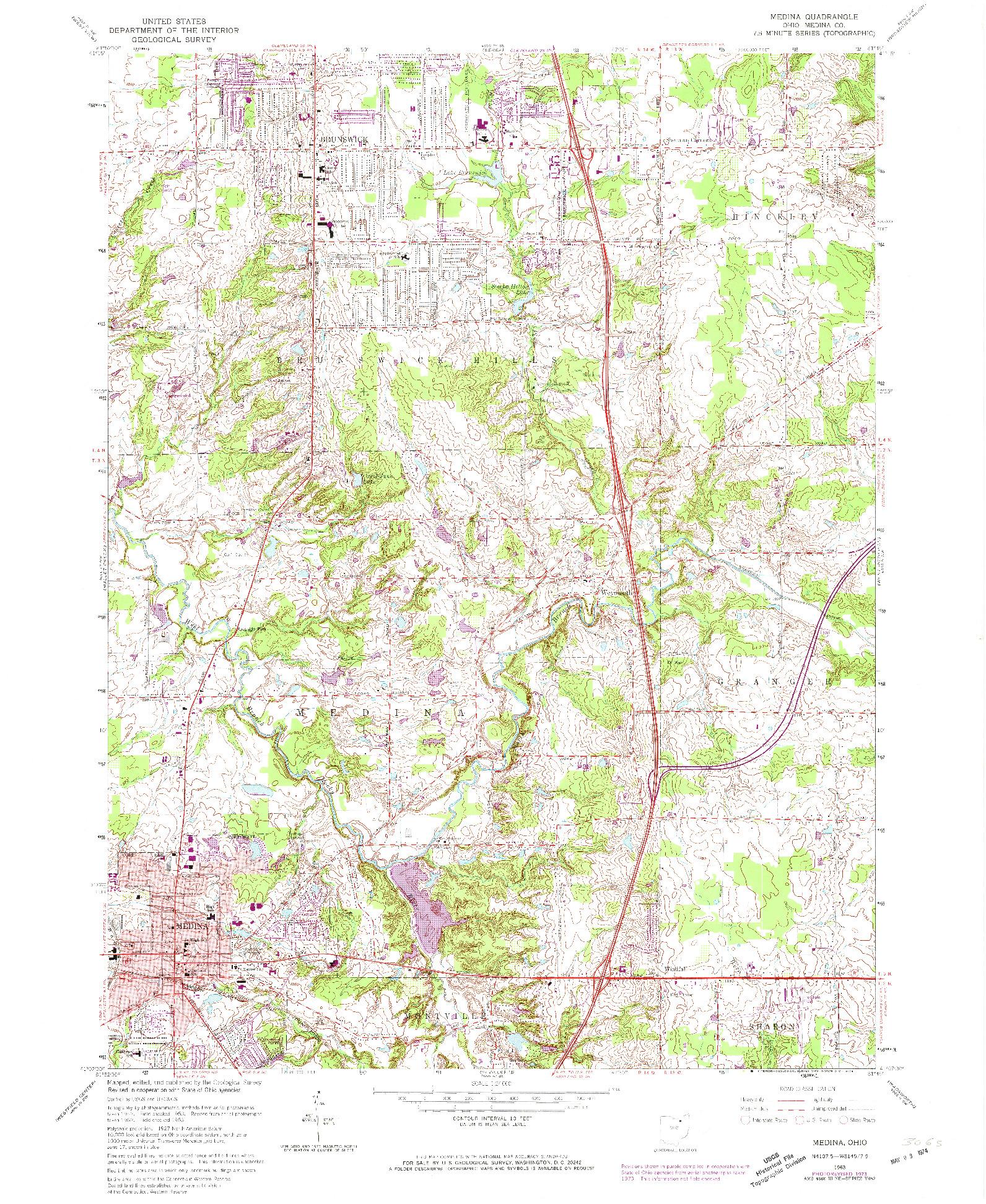 USGS 1:24000-SCALE QUADRANGLE FOR MEDINA, OH 1963
