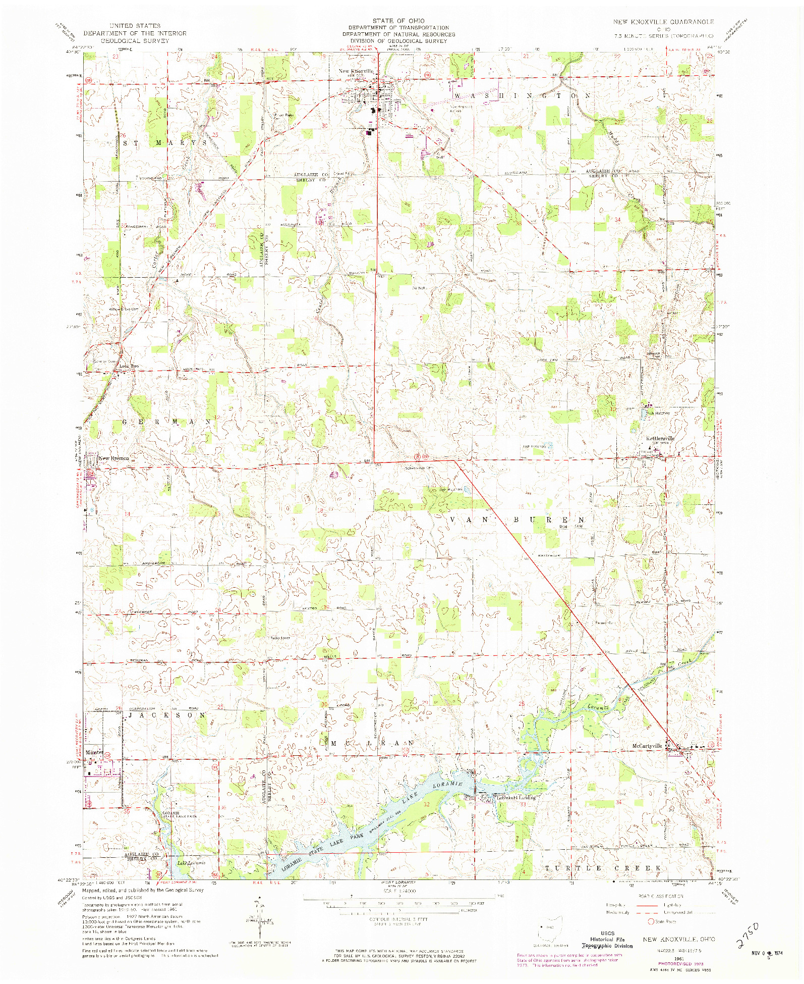 USGS 1:24000-SCALE QUADRANGLE FOR NEW KNOXVILLE, OH 1961