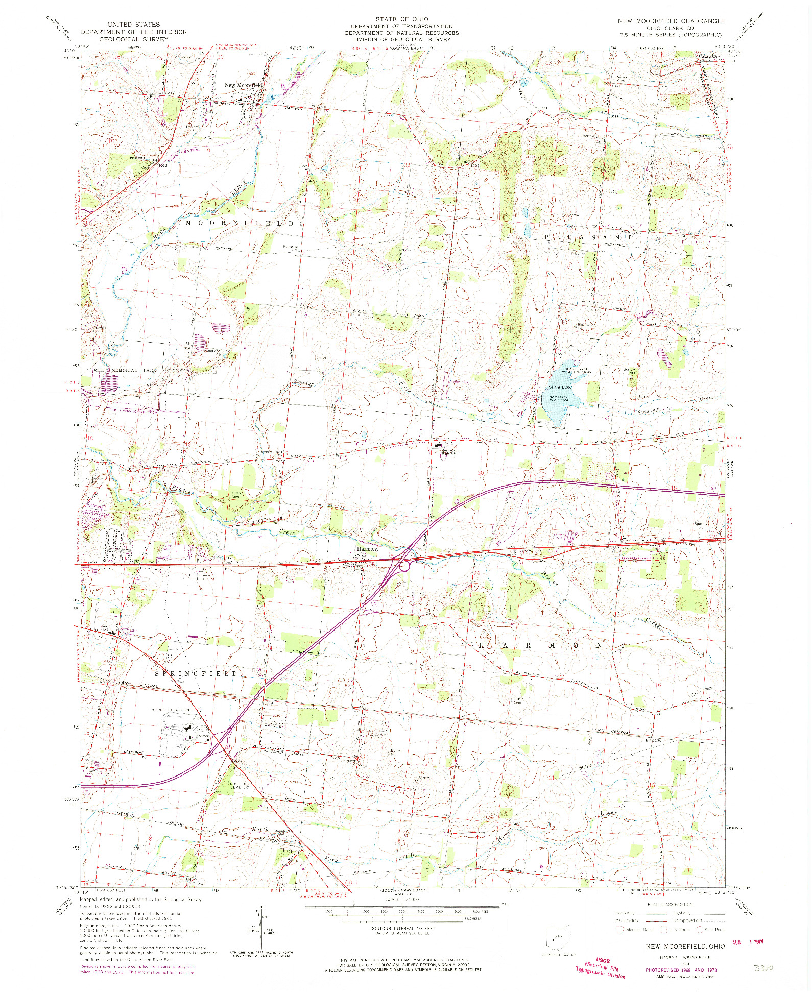 USGS 1:24000-SCALE QUADRANGLE FOR NEW MOOREFIELD, OH 1961