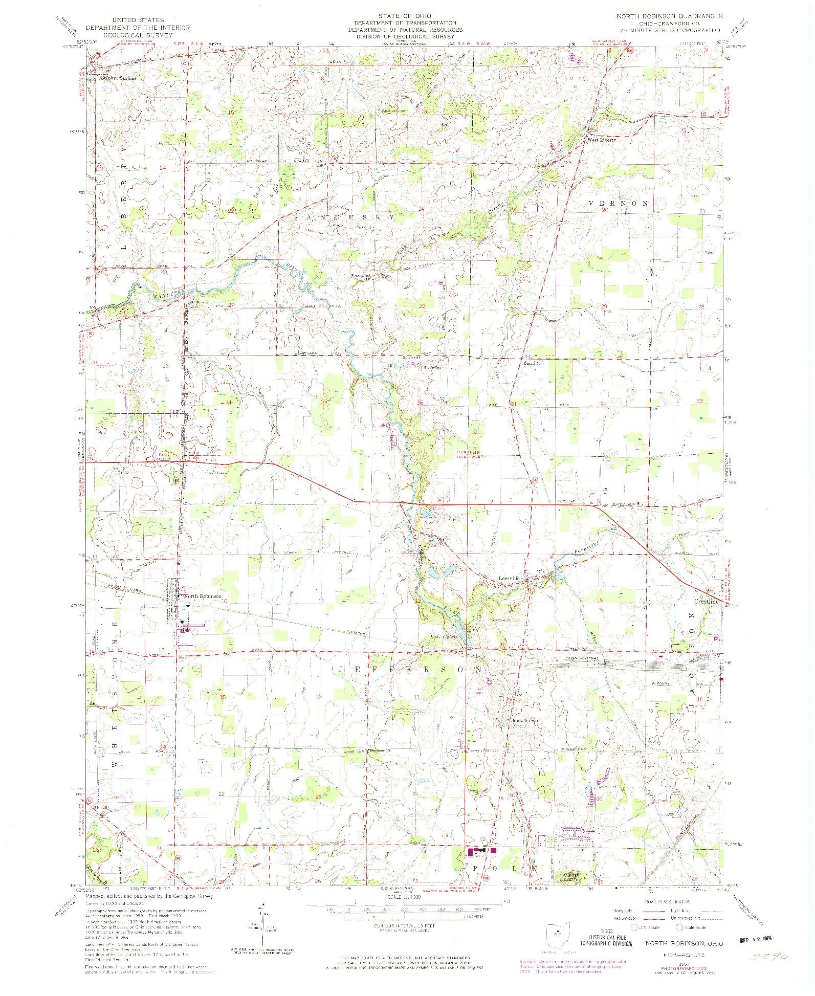 USGS 1:24000-SCALE QUADRANGLE FOR NORTH ROBINSON, OH 1960