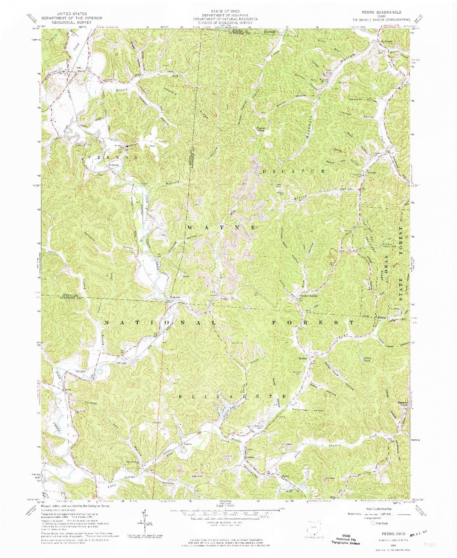 USGS 1:24000-SCALE QUADRANGLE FOR PEDRO, OH 1961