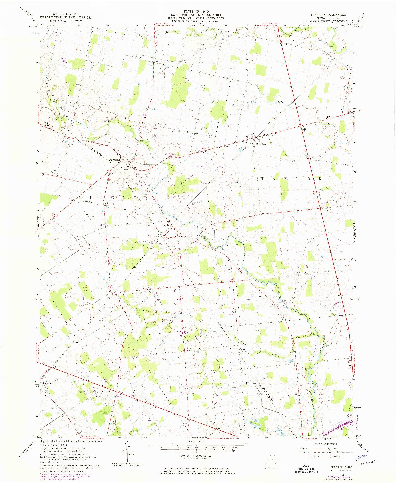 USGS 1:24000-SCALE QUADRANGLE FOR PEORIA, OH 1961