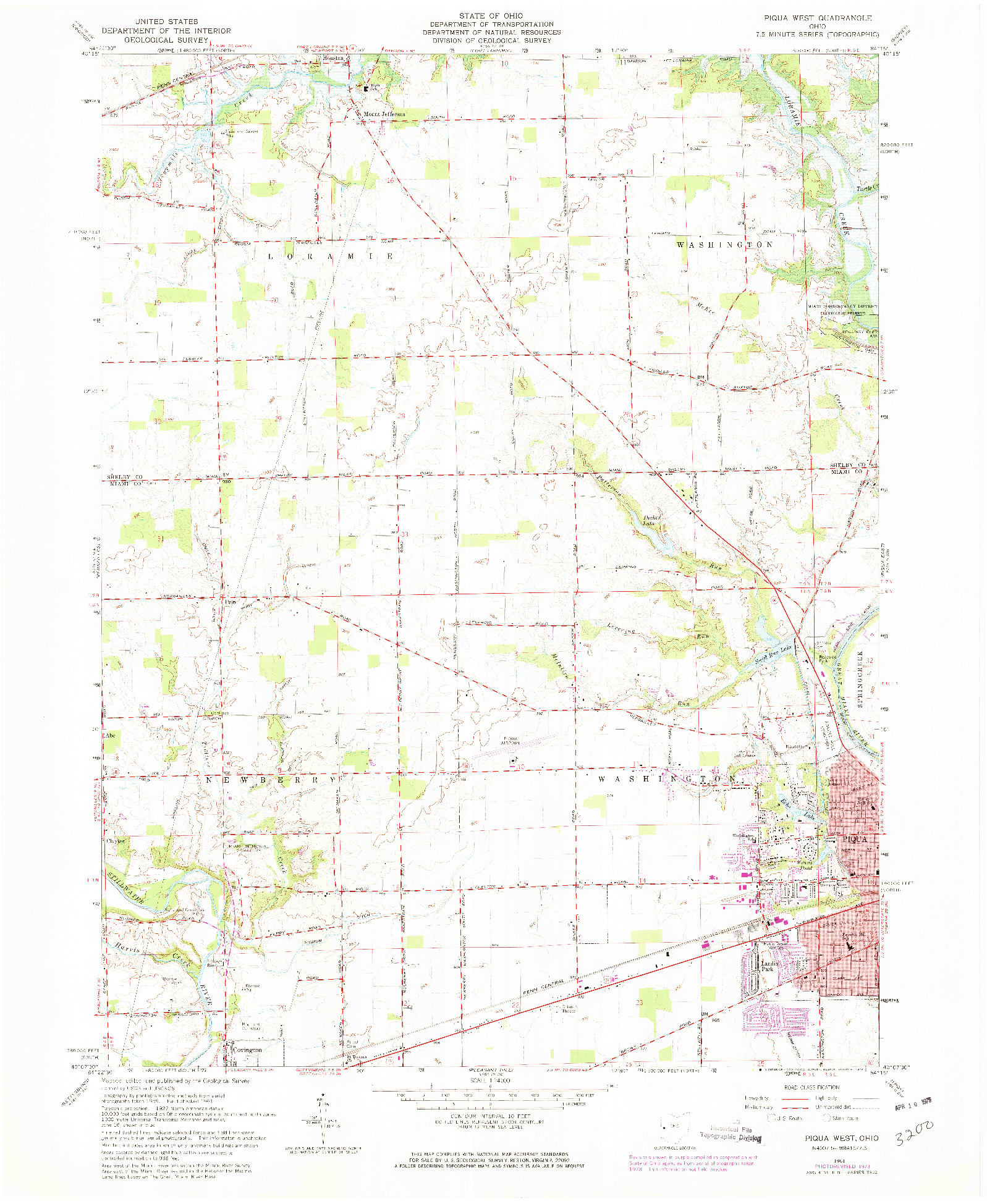 USGS 1:24000-SCALE QUADRANGLE FOR PIQUA WEST, OH 1961